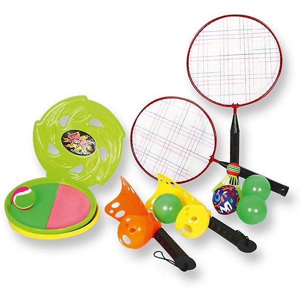 Игровой набор YG Sport 4 в 1, 13 предметов  в сумкеИгровые наборы<br>Характеристики товара:<br><br>• возраст: от 3 лет;<br>• материал: пластик;<br>• в комплекте: 2 ракетки для бадминтона, волан, летающий диск, 3 мяча, ракетки-ловушки, диски-липучки, мяч с липучками;<br>• размер упаковки: 43х23х10,5 см;<br>• вес упаковки: 564 гр.;<br>• страна производитель: Китай.<br><br>Игровой набор для детей «4 в 1» 13 предметов в сумке YG Sport — набор аксессуаров для активного летнего отдыха на свежем воздухе. Все предметы упакованы в удобную сумочку для переноски, позволяющую брать набор с собой на природу, на отдых, на дачу или на пикник. <br><br>Игровой набор для детей «4 в 1» 13 предметов в сумке YG Sport можно приобрести в нашем интернет-магазине.<br><br>Ширина мм: 230<br>Глубина мм: 105<br>Высота мм: 430<br>Вес г: 564<br>Возраст от месяцев: 36<br>Возраст до месяцев: 2147483647<br>Пол: Унисекс<br>Возраст: Детский<br>SKU: 6674853