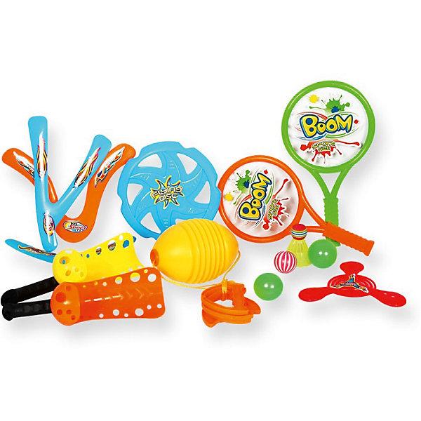 Игровой набор YG Sport 4 в 1, 14 предметов в сумкеИгровые наборы<br>Характеристики товара:<br><br>• возраст: от 3 лет;<br>• материал: пластик;<br>• в комплекте: игра Гироскоп, волан, 2 ракетки, 3 мяча, 5 летающих дисков, 2 ракетки-ловушки;<br>• размер упаковки: 36х24,5х13,5 см;<br>• вес упаковки: 500 гр.;<br>• страна производитель: Китай.<br><br>Игровой набор для детей «4 в 1» 14 предметов в сумке YG Sport — набор аксессуаров для активного летнего отдыха на свежем воздухе. Все предметы упакованы в удобную сумочку для переноски, позволяющую брать набор с собой на природу, на отдых, на дачу или на пикник. <br><br>Игровой набор для детей «4 в 1» 14 предметов в сумке YG Sport можно приобрести в нашем интернет-магазине.<br>Ширина мм: 245; Глубина мм: 135; Высота мм: 360; Вес г: 500; Возраст от месяцев: 36; Возраст до месяцев: 2147483647; Пол: Унисекс; Возраст: Детский; SKU: 6674854;