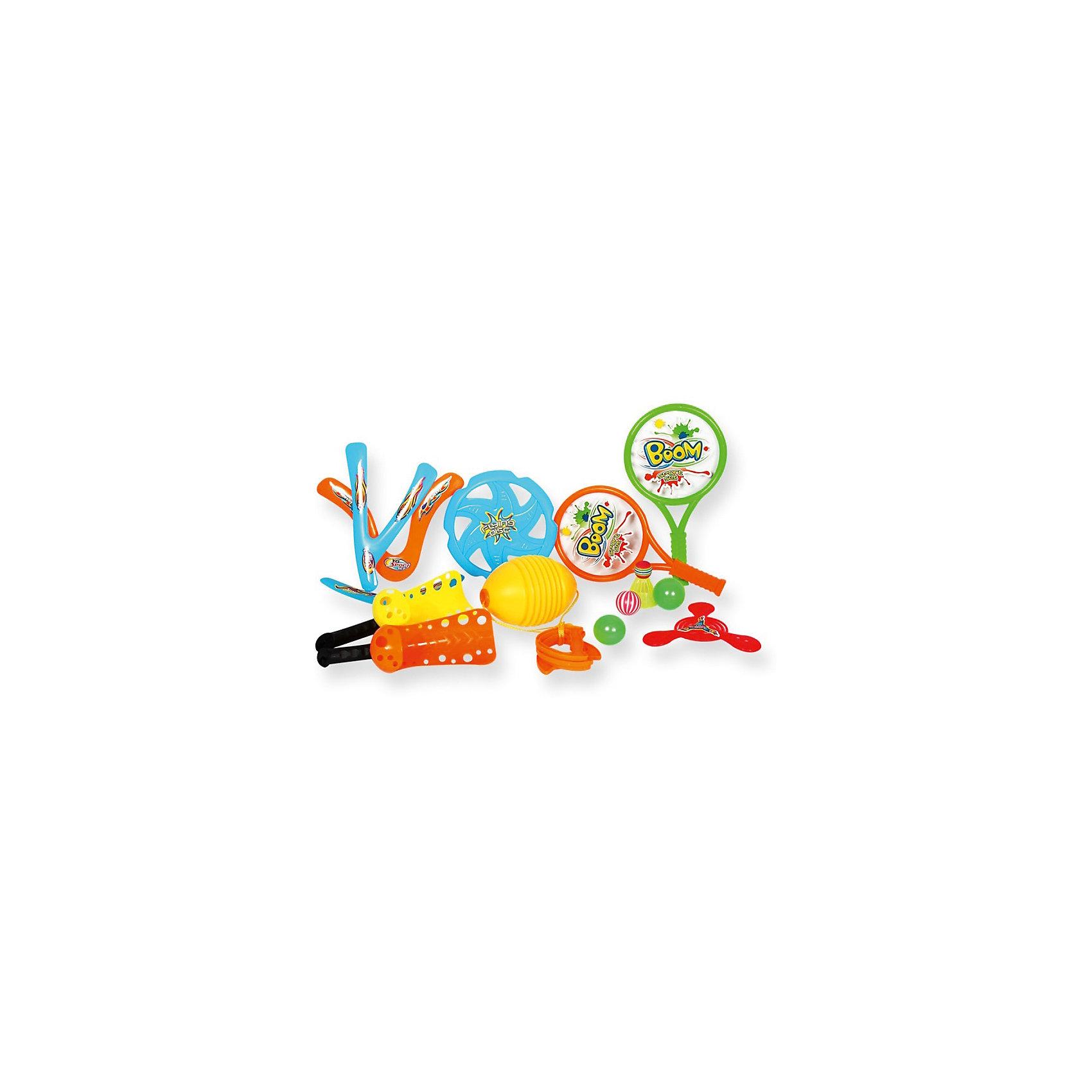 Игровой набор YG Sport 4 в 1, 14 предметов в сумкеИгровые наборы<br>Характеристики товара:<br><br>• возраст: от 3 лет;<br>• материал: пластик;<br>• в комплекте: игра Гироскоп, волан, 2 ракетки, 3 мяча, 5 летающих дисков, 2 ракетки-ловушки;<br>• размер упаковки: 36х24,5х13,5 см;<br>• вес упаковки: 500 гр.;<br>• страна производитель: Китай.<br><br>Игровой набор для детей «4 в 1» 14 предметов в сумке YG Sport — набор аксессуаров для активного летнего отдыха на свежем воздухе. Все предметы упакованы в удобную сумочку для переноски, позволяющую брать набор с собой на природу, на отдых, на дачу или на пикник. <br><br>Игровой набор для детей «4 в 1» 14 предметов в сумке YG Sport можно приобрести в нашем интернет-магазине.<br><br>Ширина мм: 245<br>Глубина мм: 135<br>Высота мм: 360<br>Вес г: 500<br>Возраст от месяцев: 36<br>Возраст до месяцев: 2147483647<br>Пол: Унисекс<br>Возраст: Детский<br>SKU: 6674854