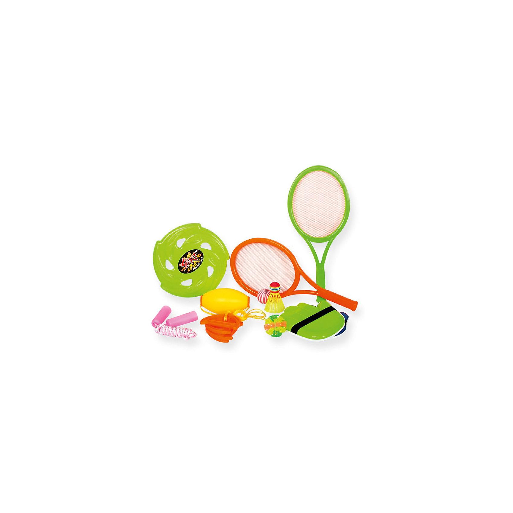 Игровой набор YG Sport 5 в 1, 10 предметов  в сумкеИгровые наборы<br>Характеристики товара:<br><br>• возраст: от 3 лет;<br>• материал: пластик;<br>• в комплекте: игра Гироскоп, волан, летающий диск, мяч, 2 ракетки, скакалка, мяч с липучками, 2 перчатки-липучки;<br>• размер упаковки: 41х25х11 см;<br>• вес упаковки: 475 гр.;<br>• страна производитель: Китай.<br><br>Игровой набор для детей «5 в 1» 10 предметов в сумке YG Sport — набор аксессуаров для активного летнего отдыха на свежем воздухе. Все предметы упакованы в удобную сумочку с ручкой и ремешками для комфортной переноски на спине. <br><br>Игровой набор для детей «5 в 1» 10 предметов в сумке YG Sport можно приобрести в нашем интернет-магазине.<br><br>Ширина мм: 250<br>Глубина мм: 110<br>Высота мм: 410<br>Вес г: 475<br>Возраст от месяцев: 36<br>Возраст до месяцев: 2147483647<br>Пол: Унисекс<br>Возраст: Детский<br>SKU: 6674855