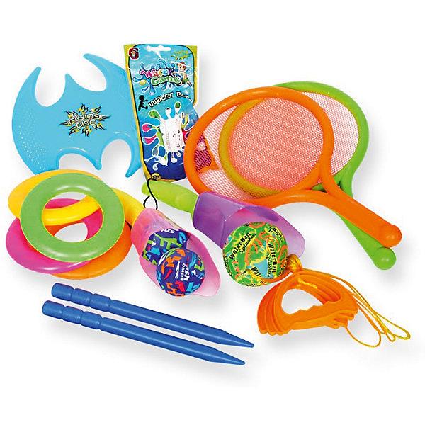 Игровой набор YG Sport 5 в 1, 15 предметов в сумкеИгровые наборы<br>Характеристики товара:<br><br>• возраст: от 3 лет;<br>• материал: пластик;<br>• в комплекте: игра Гироскоп, летающий диск, 2 ракетки, 2 водяные бомбочки, 4 кольца для метания, 2 ракетки-ловушки, 36 воздушных шаров;<br>• размер упаковки: 38х24,5х14 см;<br>• вес упаковки: 521 гр.;<br>• страна производитель: Китай.<br><br>Игровой набор для детей «5 в 1» 15 предметов в сумке YG Sport — набор аксессуаров для активного летнего отдыха на свежем воздухе. Все предметы упакованы в удобную сумочку с ручкой и ремешками для комфортной переноски на спине. <br><br>Игровой набор для детей «5 в 1» 15 предметов в сумке YG Sport можно приобрести в нашем интернет-магазине.<br>Ширина мм: 245; Глубина мм: 140; Высота мм: 380; Вес г: 521; Возраст от месяцев: 36; Возраст до месяцев: 2147483647; Пол: Унисекс; Возраст: Детский; SKU: 6674856;