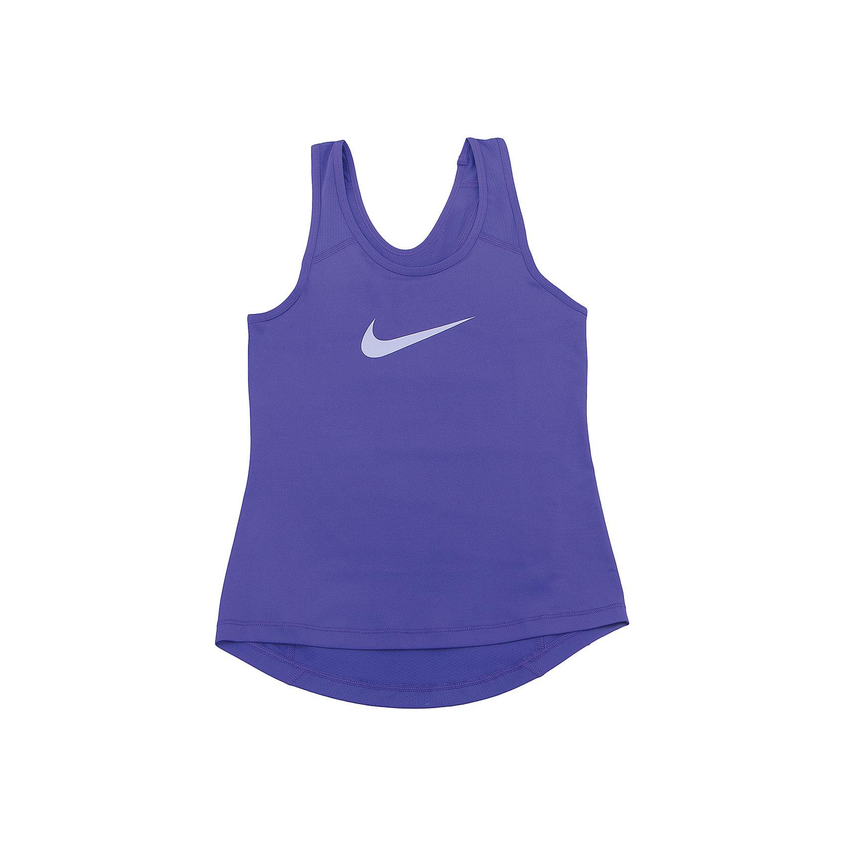Майка NIKEФутболки, поло и топы<br>Характеристики товара:<br><br>• цвет: фиолетовый<br>• спортивный стиль<br>• состав: 90% полиэстер, 10% спандекс, материал Dri-FIT<br>• ткань выводит лишнюю влагу<br>• комфортная посадка<br>• ткань оказывает поддержку мышцам и стимулирует кровообращение<br>• мягкие швы не натирают<br>• не сковывает движения<br>• без рукавов<br>• принт<br>• машинная стирка<br>• износостойкий материал<br>• коллекция: весна-лето 2017<br>• страна бренда: США<br>• страна изготовитель: Шри-Ланка<br><br>Продукция бренда NIKE известна высоким качеством и уникальным узнаваемым дизайном. Материал Dri-FIT, из которого сшито изделие, помогает создать для тела необходимую вентиляцию и вывод влаги.<br><br>Материал Dri-FIT также обеспечивает вещам долгий срок службы и отличный внешний вид даже после значительного количества стирок. Уход за изделием прост - достаточно машинной стирки на низкой температуре.<br><br>Легкий и эластичный материал создает комфортную посадку, вещь при этом смотрится очень стильно. Благодаря универсальному цвету она отлично смотрится с разной одеждой и обувью.<br><br>Майку NIKE (Найк) можно купить в нашем интернет-магазине.<br><br>Ширина мм: 199<br>Глубина мм: 10<br>Высота мм: 161<br>Вес г: 151<br>Цвет: лиловый<br>Возраст от месяцев: 132<br>Возраст до месяцев: 144<br>Пол: Унисекс<br>Возраст: Детский<br>Размер: 147/158,122/128,128/134,135/140,158/170<br>SKU: 6676463