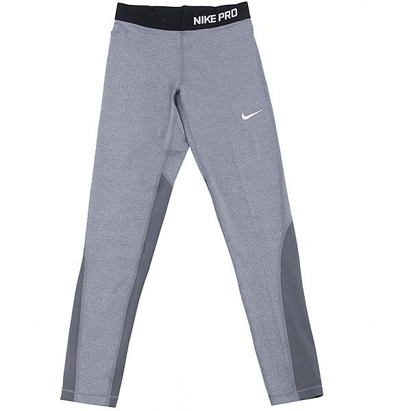 Леггинсы NIKEЛеггинсы<br>Характеристики товара:<br><br>• цвет: серый<br>• спортивный стиль<br>• состав:  полиэстер 80%, эластан 20%, ткань Nike Pro Cool <br>• мягкий пояс <br>• комфортная посадка<br>• вставки из сетки <br>• небольшой принт<br>• материал дарит ощущение прохлады и комфорт<br>• машинная стирка<br>• износостойкий материал<br>• страна бренда: США<br>• страна изготовитель: Вьетнам<br><br>Продукция бренда NIKE известна высоким качеством и уникальным узнаваемым дизайном. Удобная посадка не сковывает движения, помогает создать для тела необходимую вентиляцию и вывод влаги.<br><br>Материал брюк обеспечивает вещам долгий срок службы и отличный внешний вид даже после значительного количества стирок. Уход за изделием прост - достаточно машинной стирки на низкой температуре.<br><br>Качественный материал создает комфортную посадку, вещь при этом смотрится очень стильно. Благодаря универсальному цвету она отлично смотрится с разной одеждой и обувью.<br><br>Леггинсы NIKE (Найк) можно купить в нашем интернет-магазине.<br><br>Ширина мм: 123<br>Глубина мм: 10<br>Высота мм: 149<br>Вес г: 209<br>Цвет: серый<br>Возраст от месяцев: 84<br>Возраст до месяцев: 96<br>Пол: Унисекс<br>Возраст: Детский<br>Размер: 122/128,158/170,135/140,128/134<br>SKU: 6676551