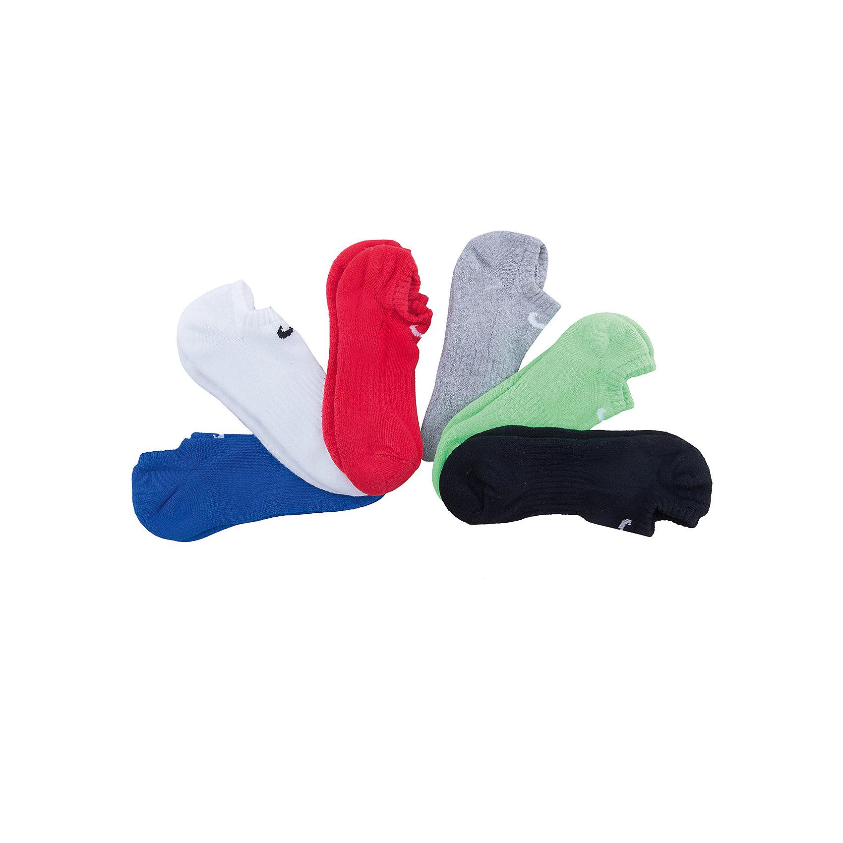 Носки NIKEСпортивная форма<br>Характеристики товара:<br><br>• цвет: синий/белый/красный/серый/зеленый/черный<br>• комплектация: 6 пар<br>• спортивный стиль<br>• состав: хлопок 74%, полиэстер 24%, эластан 2%<br>• мягкая резинка<br>• комфортная посадка <br>• укрепленная пятка и носок надежно <br>• логотип<br>• машинная стирка<br>• износостойкий материал<br>• страна бренда: США<br>• страна изготовитель: Пакистан <br><br>Продукция бренда NIKE известна высоким качеством и уникальным узнаваемым дизайном. Удобная посадка не сковывает движения, помогает создать для тела необходимую вентиляцию и вывод влаги.<br><br>Материал обеспечивает вещам долгий срок службы и отличный внешний вид даже после значительного количества стирок. Уход за изделием прост - достаточно машинной стирки на низкой температуре.<br><br>Качественный материал создает комфортную посадку, вещь при этом смотрится очень стильно. Благодаря универсальному цвету она отлично смотрится с разной одеждой и обувью.<br><br>Носки NIKE (Найк) можно купить в нашем интернет-магазине.<br><br>Ширина мм: 87<br>Глубина мм: 10<br>Высота мм: 105<br>Вес г: 115<br>Цвет: разноцветный<br>Возраст от месяцев: 168<br>Возраст до месяцев: 1188<br>Пол: Унисекс<br>Возраст: Детский<br>Размер: 38-42<br>SKU: 6676777