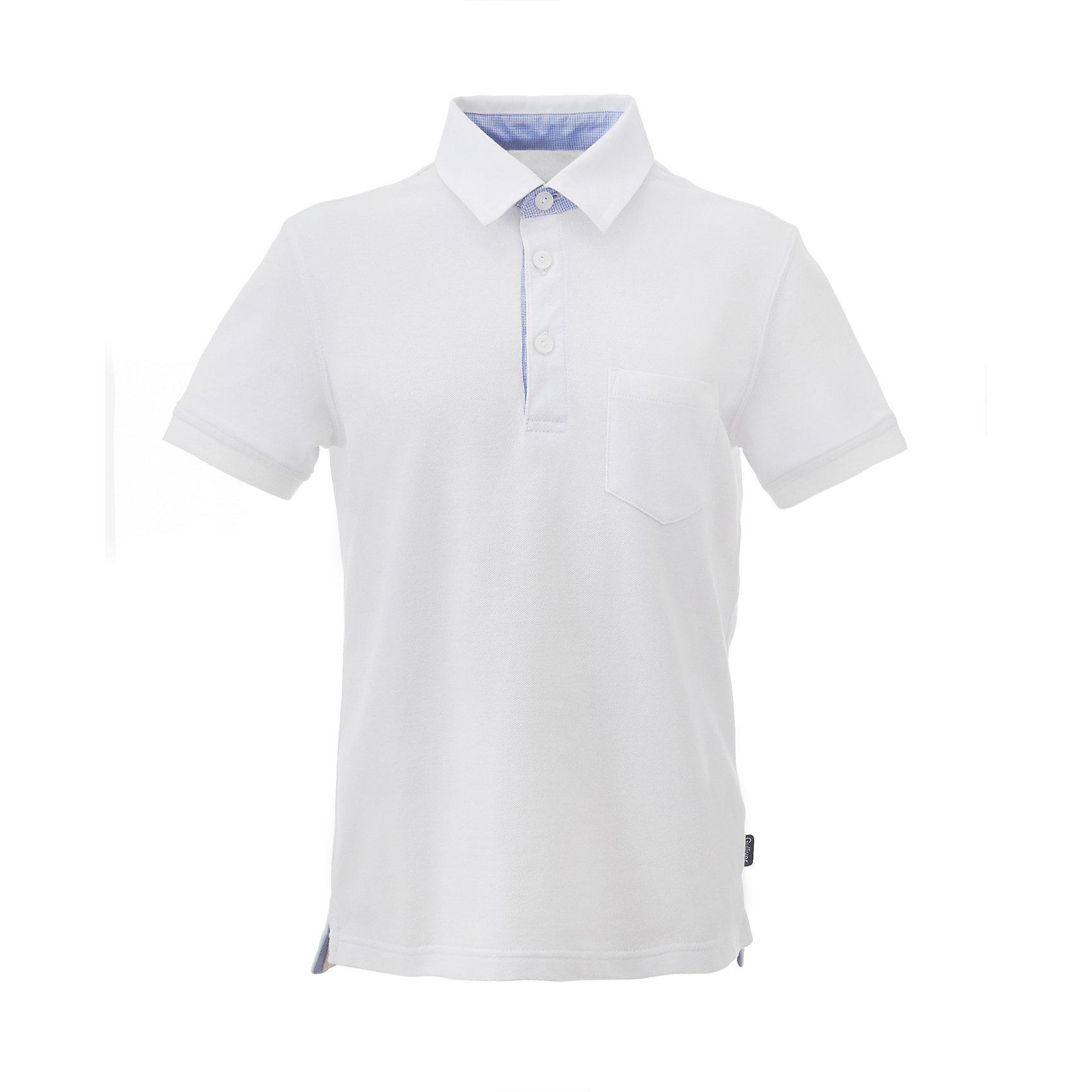 Футболка-поло для мальчика GulliverФутболки, поло и топы<br>Белая футболка поло для мальчика из трикотажа-пике – прекрасное решение на каждый день. В жарких школьных классах, в любое время года, поло - лучшая альтернатива официальной сорочке. В дни, не предполагающие ответственных школьных мероприятий, в поло ребенку будет удобнее, комфортнее, привычнее. Текстильный воротник, трикотажные манжеты, отделочные детали, лаконичная вышивка придают изделию индивидуальность. Купить поло для мальчика стоит в двух цветах, разнообразив повседневный школьный look ребенка.<br>Состав:<br>95% хлопок        5% эластан<br><br>Ширина мм: 199<br>Глубина мм: 10<br>Высота мм: 161<br>Вес г: 151<br>Цвет: белый<br>Возраст от месяцев: 168<br>Возраст до месяцев: 180<br>Пол: Мужской<br>Возраст: Детский<br>Размер: 170,122,128,134,140,146,152,158,164<br>SKU: 6678216