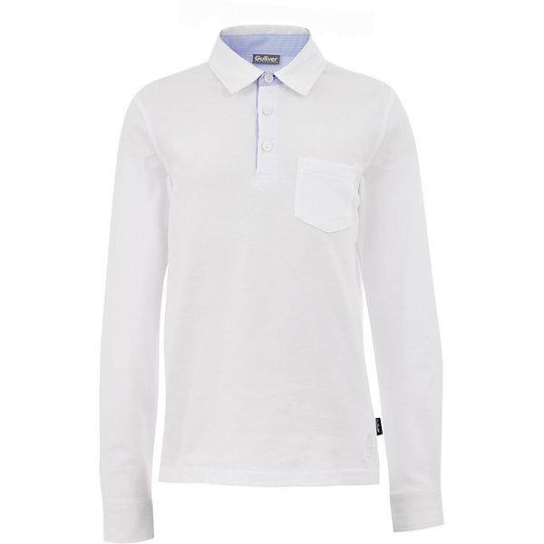 Рубашка-поло для мальчика GulliverФутболки с длинным рукавом<br>Характеристики товара:<br><br>• цвет: белый<br>• состав: 95% хлопок, 5% эластан <br>• сезон: демисезон<br>• особенности: школьная, повседневная<br>• эластичный мягкий трикотаж<br>• нагрудный карман<br>• застежки: пуговицы<br>• воротник-поло<br>• страна бренда: Российская Федерация<br>• страна производства: Российская Федерация<br><br>Однотонная рубашка-поло для мальчика. Текстильный воротник и манжеты, отделочные детали, лаконичная вышивка придают изделию индивидуальность. Школьная рубашка-поло с нагрудным карманом, застегивается на три пуговицы у ворота.<br><br>Футболку-поло для мальчика Gulliver (Гулливер) можно купить в нашем интернет-магазине.<br><br>Ширина мм: 199<br>Глубина мм: 10<br>Высота мм: 161<br>Вес г: 151<br>Цвет: белый<br>Возраст от месяцев: 132<br>Возраст до месяцев: 144<br>Пол: Мужской<br>Возраст: Детский<br>Размер: 152,122,170,164,158,146,140,134,128<br>SKU: 6678226