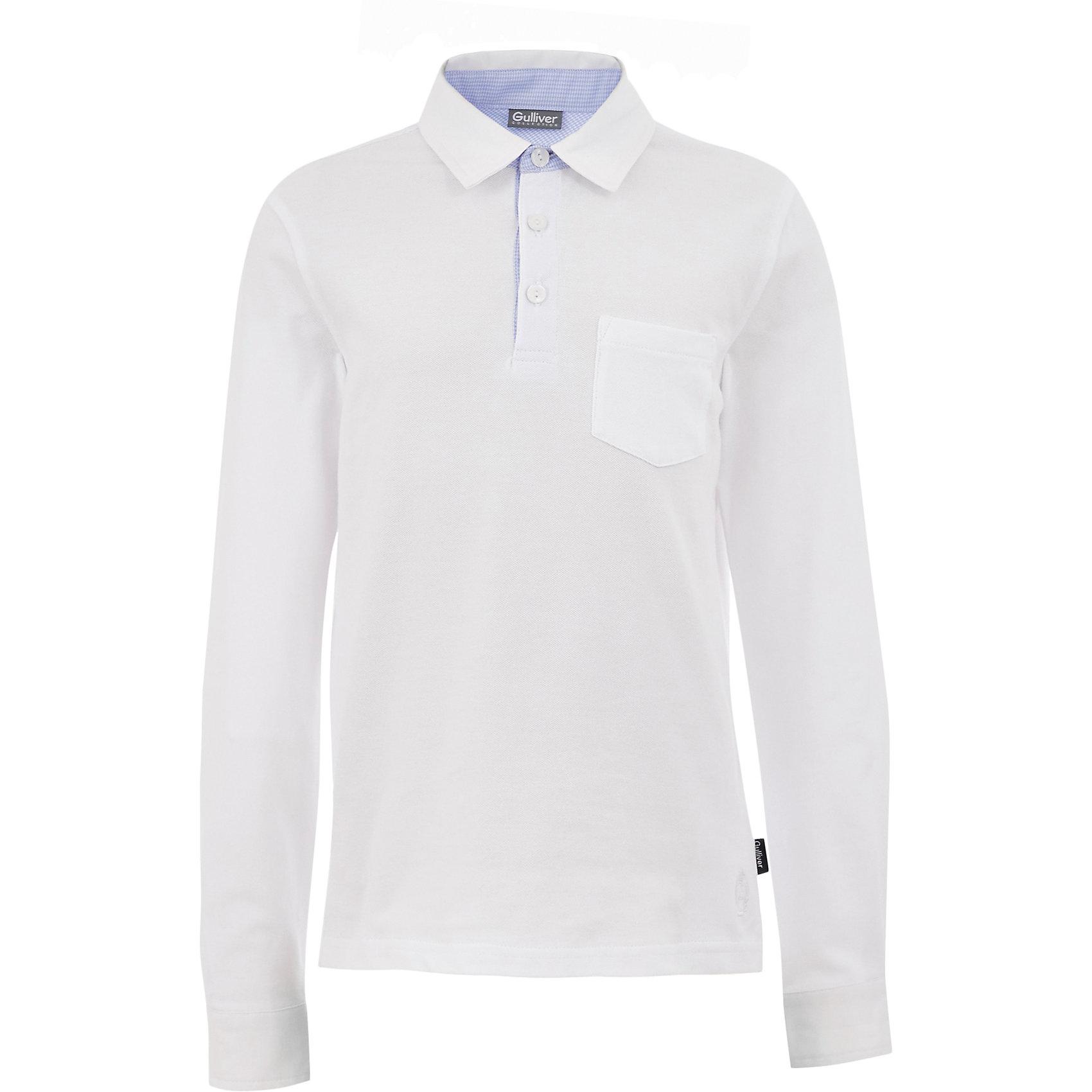 Рубашка-поло для мальчика GulliverБлузки и рубашки<br>Характеристики товара:<br><br>• цвет: белый<br>• состав: 95% хлопок, 5% эластан <br>• сезон: демисезон<br>• особенности: школьная, повседневная<br>• эластичный мягкий трикотаж<br>• нагрудный карман<br>• застежки: пуговицы<br>• воротник-поло<br>• страна бренда: Российская Федерация<br>• страна производства: Российская Федерация<br><br>Однотонная рубашка-поло для мальчика. Текстильный воротник и манжеты, отделочные детали, лаконичная вышивка придают изделию индивидуальность. Школьная рубашка-поло с нагрудным карманом, застегивается на три пуговицы у ворота.<br><br>Футболку-поло для мальчика Gulliver (Гулливер) можно купить в нашем интернет-магазине.<br><br>Ширина мм: 199<br>Глубина мм: 10<br>Высота мм: 161<br>Вес г: 151<br>Цвет: белый<br>Возраст от месяцев: 72<br>Возраст до месяцев: 84<br>Пол: Мужской<br>Возраст: Детский<br>Размер: 122,170,128,134,140,146,152,158,164<br>SKU: 6678226