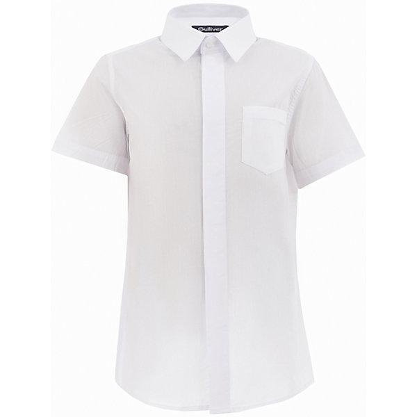 Рубашка для мальчика GulliverБлузки и рубашки<br>Характеристики товара:<br><br>• цвет: белый<br>• состав: 80% хлопок, 20% полиэстер <br>• сезон: круглый год<br>• особенности: школьная, повседневная<br>• воротник-стойка<br>• застежки: пуговицы<br>• с коротким рукавом<br>• нагрудный накладной карман<br>• страна бренда: Российская Федерация<br>• страна производства: Российская Федерация<br><br>Школьная рубашка с коротким рукавом для мальчика. Белая рубашка застегиваетс яна пуговицы, имеется нагрудный накладной карман.<br><br>Рубашку для мальчика Gulliver (Гулливер) можно купить в нашем интернет-магазине.<br><br>Ширина мм: 174<br>Глубина мм: 10<br>Высота мм: 169<br>Вес г: 157<br>Цвет: белый<br>Возраст от месяцев: 168<br>Возраст до месяцев: 180<br>Пол: Мужской<br>Возраст: Детский<br>Размер: 134,140,146,152,158,164,170,122,128<br>SKU: 6678296