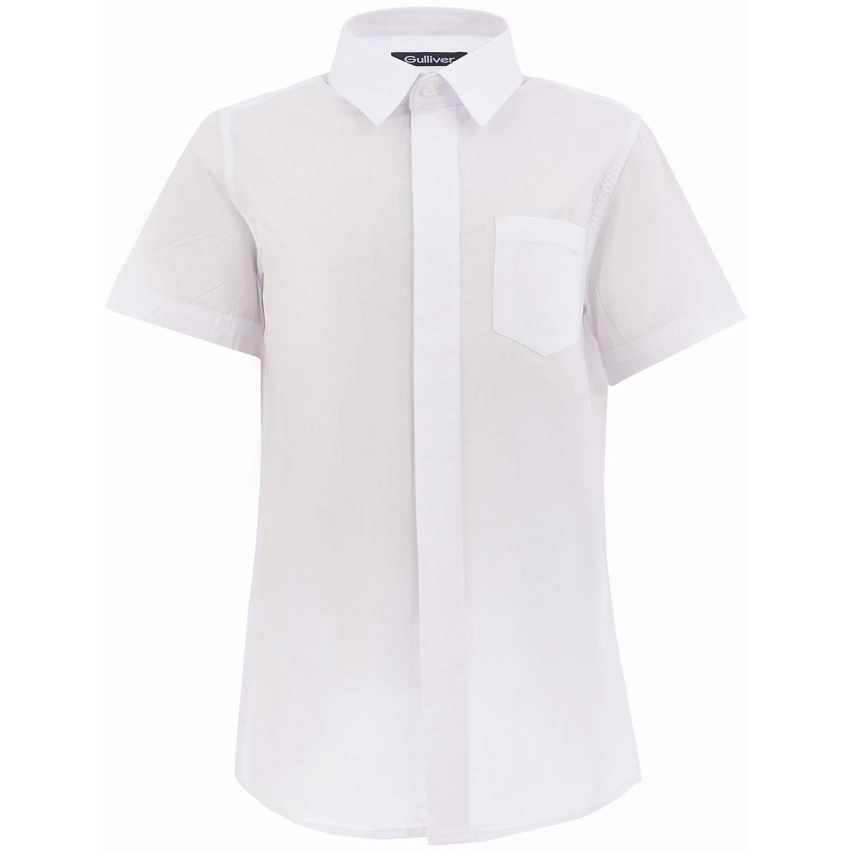 Рубашка для мальчика GulliverБлузки и рубашки<br>Характеристики товара:<br><br>• цвет: белый<br>• состав: 80% хлопок, 20% полиэстер <br>• сезон: круглый год<br>• особенности: школьная, повседневная<br>• воротник-стойка<br>• застежки: пуговицы<br>• с коротким рукавом<br>• нагрудный накладной карман<br>• страна бренда: Российская Федерация<br>• страна производства: Российская Федерация<br><br>Школьная рубашка с коротким рукавом для мальчика. Белая рубашка застегиваетс яна пуговицы, имеется нагрудный накладной карман.<br><br>Рубашку для мальчика Gulliver (Гулливер) можно купить в нашем интернет-магазине.<br><br>Ширина мм: 174<br>Глубина мм: 10<br>Высота мм: 169<br>Вес г: 157<br>Цвет: белый<br>Возраст от месяцев: 168<br>Возраст до месяцев: 180<br>Пол: Мужской<br>Возраст: Детский<br>Размер: 170,122,128,134,140,146,152,158,164<br>SKU: 6678296