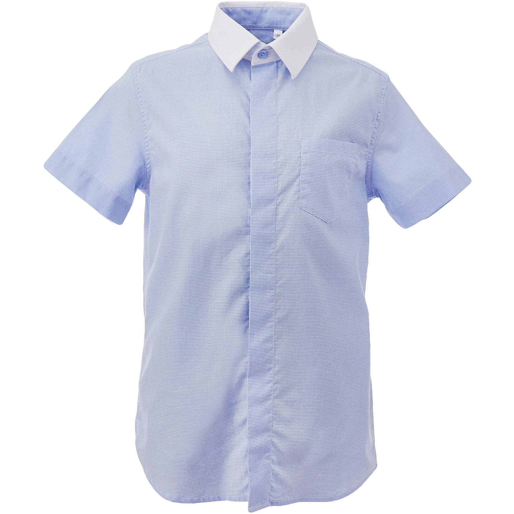 Рубашка для мальчика GulliverБлузки и рубашки<br>Характеристики товара:<br><br>• цвет: голубой<br>• состав: 80% хлопок, 20% полиэстер <br>• сезон: круглый год<br>• особенности: школьная, повседневная<br>• воротник-стойка<br>• застежки: пуговицы<br>• с коротким рукавом<br>• страна бренда: Российская Федерация<br>• страна производства: Российская Федерация<br><br>Школьная рубашка с коротким рукавом для малчика. Голубая рубшка застегивается на пуговицы. Воротник контрастного белого цвета.<br><br>Рубашку для мальчика Gulliver (Гулливер) можно купить в нашем интернет-магазине.<br><br>Ширина мм: 174<br>Глубина мм: 10<br>Высота мм: 169<br>Вес г: 157<br>Цвет: голубой<br>Возраст от месяцев: 72<br>Возраст до месяцев: 84<br>Пол: Мужской<br>Возраст: Детский<br>Размер: 122,170,164,158,140,134,128,152,146<br>SKU: 6678306