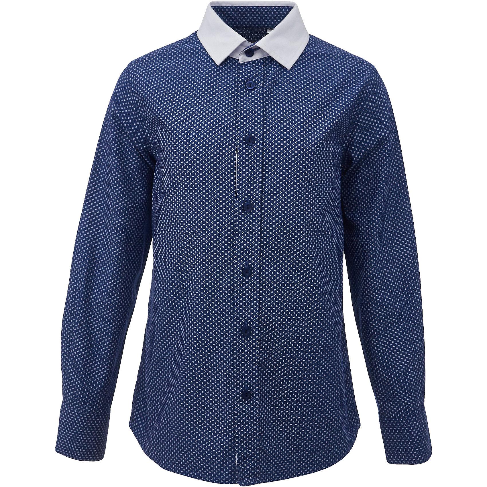 Рубашка для мальчика GulliverБлузки и рубашки<br>Купить рубашку для мальчика - в преддверии учебного сезона, это самая распространенная задача родителей школьников. При всем богатстве выбора, купить рубашку высокого качества не очень просто. Школьная рубашка должна отлично выглядеть, хорошо сидеть, соответствовать актуальной форме, быть всегда свежей, выглаженной и опрятной. Именно поэтому состав, плотность и текстура материала имеют большое значение! Синяя рубашка с мелким рисунком - тренд сезона! Она не нарушает школьный дресс код, но делает повседневный look ярче и интереснее, создавая позитивное настроение. Белая отделка: внутренняя часть планки и воротник придает модели выразительность и индивидуальность.<br>Состав:<br>80% хлопок          20% полиэстер<br><br>Ширина мм: 174<br>Глубина мм: 10<br>Высота мм: 169<br>Вес г: 157<br>Цвет: синий<br>Возраст от месяцев: 72<br>Возраст до месяцев: 84<br>Пол: Мужской<br>Возраст: Детский<br>Размер: 122,170,128,134,140,146,152,158,164<br>SKU: 6678316