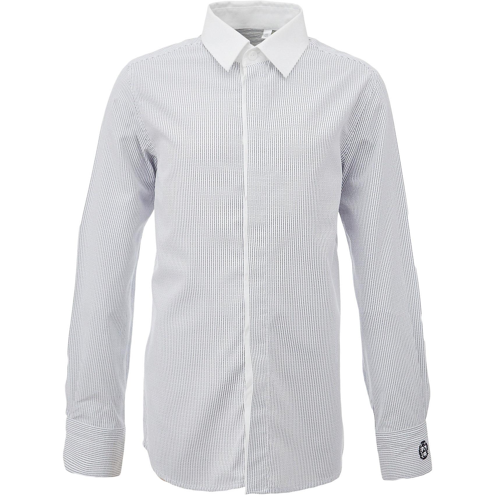 Рубашка для мальчика GulliverБлузки и рубашки<br>При всем богатстве выбора, купить рубашку для мальчика высокого качества не очень просто. Школьная рубашка должна отлично выглядеть, хорошо сидеть, соответствовать актуальной форме, быть всегда свежей, выглаженной и опрятной. Именно поэтому состав, плотность и текстура материала имеют большое значение! Рубашка в полоску - тренд сезона! Она не нарушает школьный дресс код, но делает повседневный look ярче и интереснее. Белый воротник, закрытая суппатная планка, деликатная фирменная вышивка на манжете придают модели индивидуальные черты. Хорошая школьная рубашка сделает каждый день ребенка комфортным.<br>Состав:<br>80% хлопок          20% полиэстер<br><br>Ширина мм: 174<br>Глубина мм: 10<br>Высота мм: 169<br>Вес г: 157<br>Цвет: серый<br>Возраст от месяцев: 168<br>Возраст до месяцев: 180<br>Пол: Мужской<br>Возраст: Детский<br>Размер: 170,122,128,134,140,146,152,158,164<br>SKU: 6678326