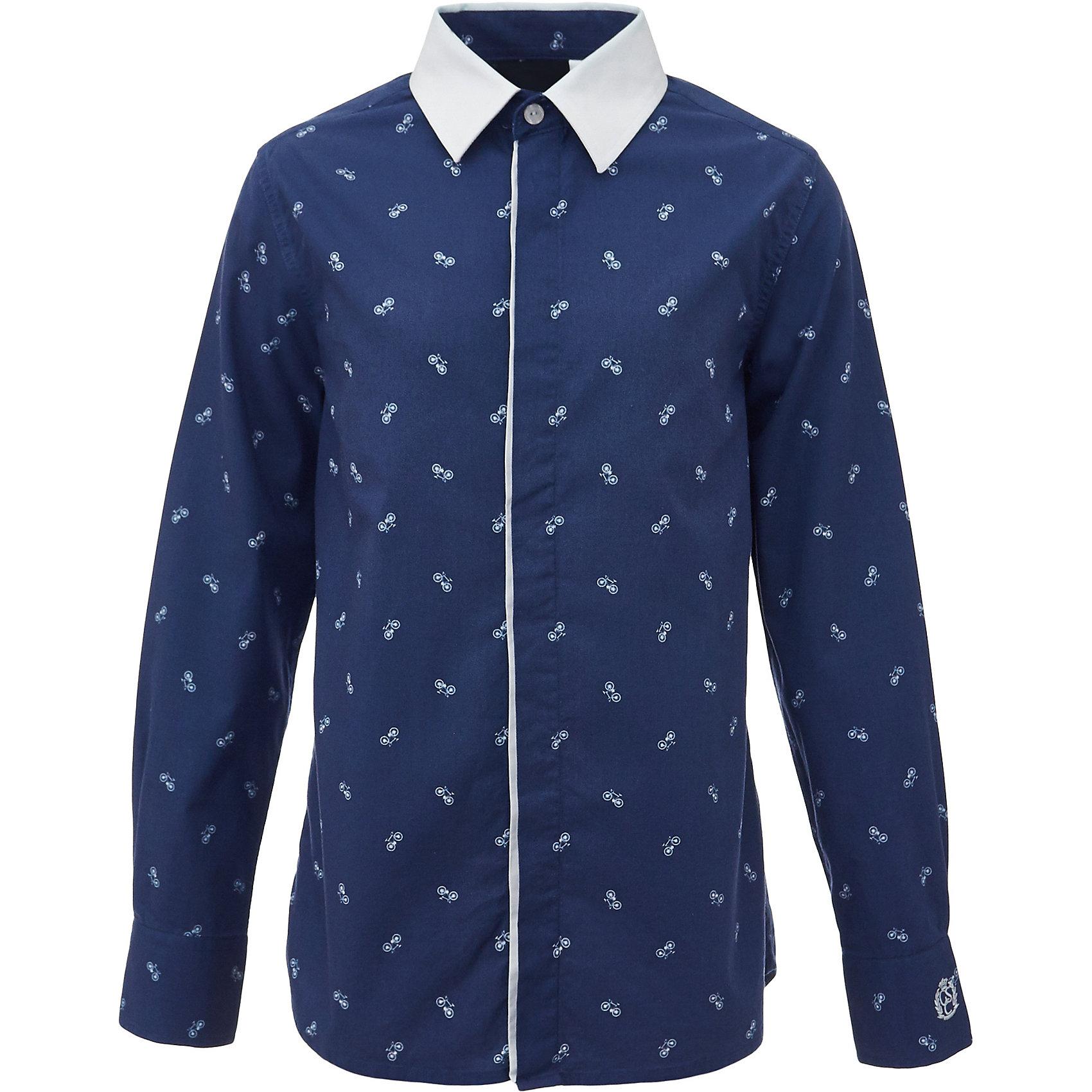 Рубашка для мальчика GulliverБлузки и рубашки<br>Характеристики товара:<br><br>• цвет: синий<br>• состав: 100% хлопок<br>• сезон: круглый год<br>• с длинным рукавом<br>• воротник-стойка<br>• застежки: пуговицы<br>• манжеты на трех пуговицах<br>• особенности: школьная, повседневная, с рисунком<br>• страна бренда: Российская Федерация<br>• страна производства: Российская Федерация<br><br>Школьная рубашка с длинным рукавом для мальчика. Синяя рубашка с мелким рисунком на потайной застежке на пуговицах, манжеты рукавов на трех пуговицах. Воротник контрастного белого цвета.<br><br>Рубашку для мальчика Gulliver (Гулливер) можно купить в нашем интернет-магазине.<br><br>Ширина мм: 174<br>Глубина мм: 10<br>Высота мм: 169<br>Вес г: 157<br>Цвет: синий<br>Возраст от месяцев: 72<br>Возраст до месяцев: 84<br>Пол: Мужской<br>Возраст: Детский<br>Размер: 122,170,164,158,152,146,140,134,128<br>SKU: 6678346