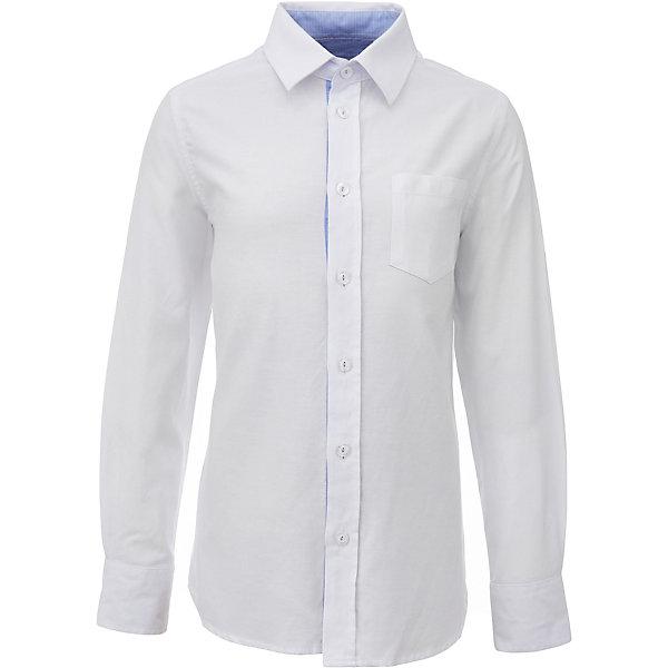 Рубашка для мальчика GulliverБлузки и рубашки<br>Характеристики товара:<br><br>• цвет: белый<br>• состав: 100% хлопок<br>• сезон: круглый год<br>• с длинным рукавом<br>• воротник-стойка<br>• застежки: пуговицы<br>• манжеты на трех пуговицах<br>• особенности: школьная, повседневная<br>• страна бренда: Российская Федерация<br>• страна производства: Российская Федерация<br><br>Школьная рубашка с длинным рукавом для мальчика. Белая рубашка застегивается на пуговицы, манжеты рукавов на трех пуговицах. На груди накладной карман.<br><br>Рубашку для мальчика Gulliver (Гулливер) можно купить в нашем интернет-магазине.<br>Ширина мм: 174; Глубина мм: 10; Высота мм: 169; Вес г: 157; Цвет: белый; Возраст от месяцев: 84; Возраст до месяцев: 96; Пол: Мужской; Возраст: Детский; Размер: 128,170,164,158,152,146,140,134,122; SKU: 6678366;