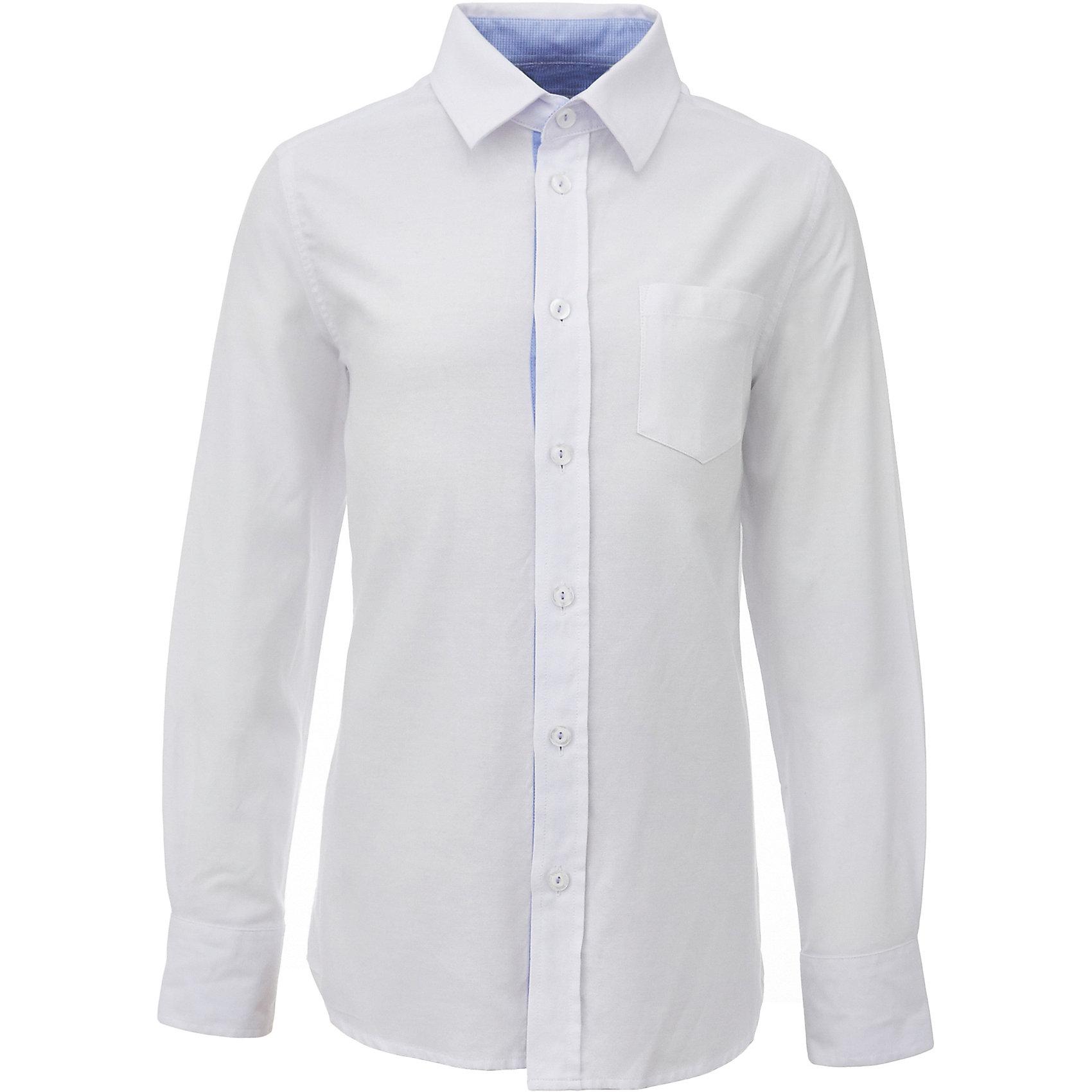Рубашка для мальчика GulliverБлузки и рубашки<br>Белая школьная рубашка - классика жанра! Строгая, лаконичная, элегантная, белая рубашка для школы настроит на серьезный и ответственный подход к делу. Хороший состав, качество и текстура ткани, модный силуэт, актуальная форма воротника делают рубашку отличным решением на каждый день, позволяющим ребенку чувствовать себя уверенно и достойно. Деликатная отделка: контрастная внутренняя планка и стойка, фирменная вышивка на манжете придают модели индивидуальные черты, не нарушая  школьного дресс кода. Купить рубашку стоит вместе с темным или ярким галстуком для создания завершенного образа ученика.<br>Состав:<br>100% хлопок<br><br>Ширина мм: 174<br>Глубина мм: 10<br>Высота мм: 169<br>Вес г: 157<br>Цвет: белый<br>Возраст от месяцев: 168<br>Возраст до месяцев: 180<br>Пол: Мужской<br>Возраст: Детский<br>Размер: 170,128,122,134,140,146,152,158,164<br>SKU: 6678366