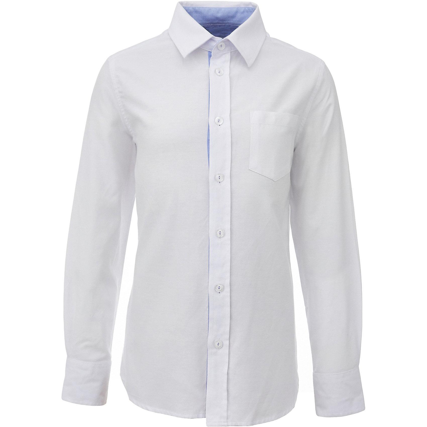 Рубашка для мальчика GulliverБлузки и рубашки<br>Характеристики товара:<br><br>• цвет: белый<br>• состав: 80% хлопок, 20% полиэстер <br>• сезон: круглый год<br>• с длинным рукавом<br>• налокотники<br>• воротник-стойка<br>• застежки: пуговицы<br>• манжеты на трех пуговицах<br>• особенности: школьная, повседневная<br>• страна бренда: Российская Федерация<br>• страна производства: Российская Федерация<br><br>Школьная рубашка с длинным рукавом для мальчика. Белая рубашка застегивается на пуговицы, манжеты рукавов на трех пуговицах. У рубашки контрастная внутренняя планка и стойка, налокотники и фирменная вышивка на манжете. На груди накладной карман.<br><br>Рубашку для мальчика Gulliver (Гулливер) можно купить в нашем интернет-магазине.<br><br>Ширина мм: 174<br>Глубина мм: 10<br>Высота мм: 169<br>Вес г: 157<br>Цвет: белый<br>Возраст от месяцев: 168<br>Возраст до месяцев: 180<br>Пол: Мужской<br>Возраст: Детский<br>Размер: 170,122,128,134,140,146,152,158,164<br>SKU: 6678386
