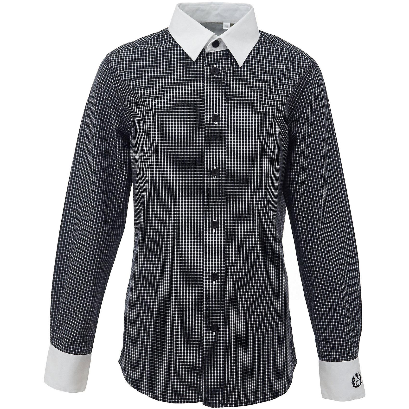 Рубашка для мальчика GulliverБлузки и рубашки<br>Характеристики товара:<br><br>• цвет: черный<br>• состав: 100% хлопок<br>• сезон: круглый год<br>• с длинным рукавом<br>• воротник-стойка<br>• застежки: пуговицы<br>• манжеты на трех пуговицах<br>• особенности: школьная, повседневная, в клетку<br>• страна бренда: Российская Федерация<br>• страна производства: Российская Федерация<br><br>Школьная рубашка с длинным рукавом для мальчика. Черная рубашка в клетку застегивается на пуговицы, манжеты рукавов на трех пуговицах. Воротник и манжеты контрастного белого цвета.<br><br>Рубашку для мальчика Gulliver (Гулливер) можно купить в нашем интернет-магазине.<br><br>Ширина мм: 174<br>Глубина мм: 10<br>Высота мм: 169<br>Вес г: 157<br>Цвет: черный<br>Возраст от месяцев: 168<br>Возраст до месяцев: 180<br>Пол: Мужской<br>Возраст: Детский<br>Размер: 128,134,140,146,152,158,164,170,122<br>SKU: 6678396