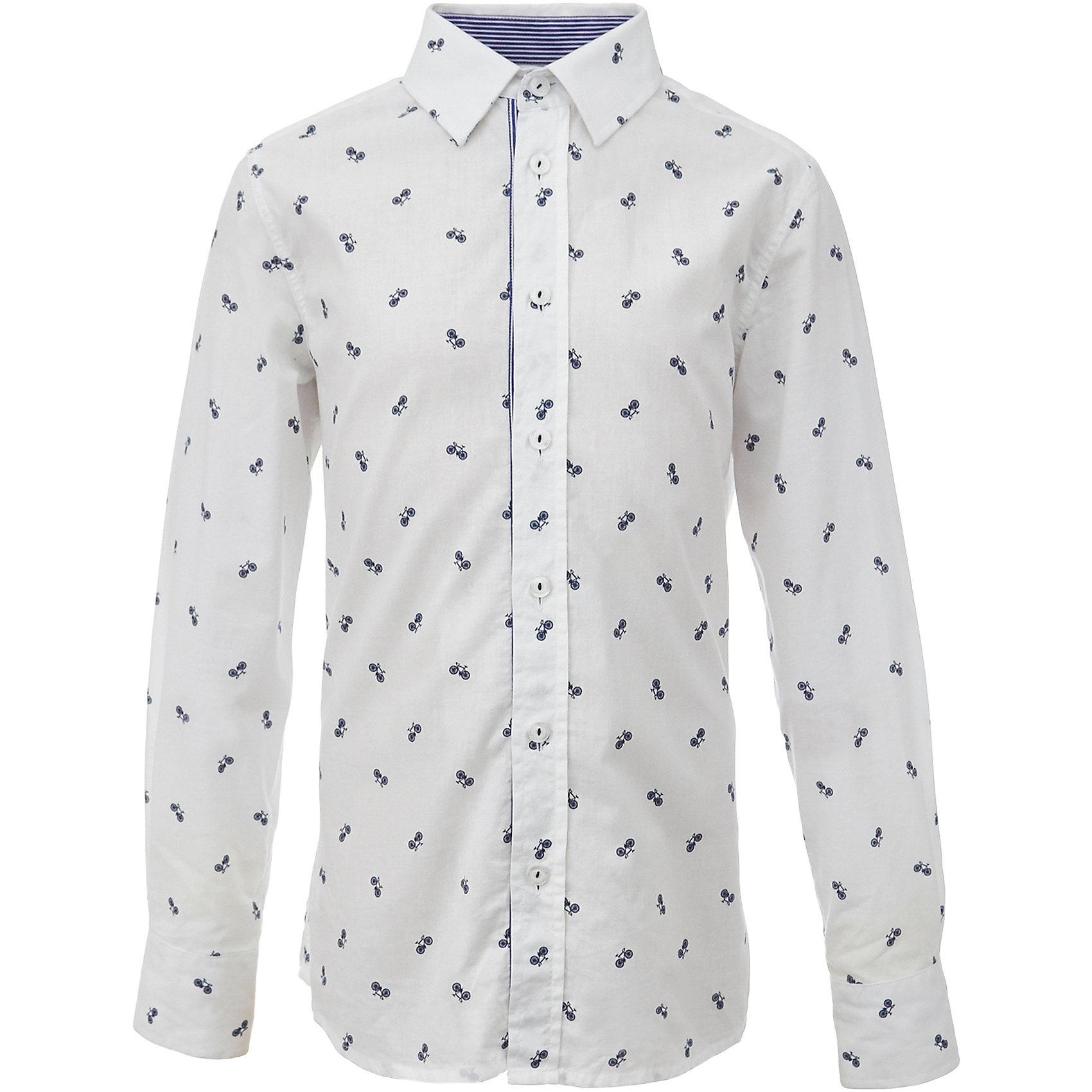 Рубашка для мальчика GulliverБлузки и рубашки<br>При всем богатстве выбора, купить рубашку для мальчика высокого качества не очень просто. Школьная рубашка должна отлично выглядеть, хорошо сидеть, соответствовать актуальной форме, быть всегда свежей, выглаженной и опрятной. Именно поэтому состав, плотность и текстура материала имеет большое значение! Рубашка с мелким рисунком - тренд сезона! Она не нарушает школьный дресс код, но делает повседневный look ярче и интереснее, создавая позитивное настроение. Хорошая школьная рубашка сделает каждый день ребенка комфортным.<br>Состав:<br>80% хлопок          20% полиэстер<br><br>Ширина мм: 174<br>Глубина мм: 10<br>Высота мм: 169<br>Вес г: 157<br>Цвет: белый<br>Возраст от месяцев: 168<br>Возраст до месяцев: 180<br>Пол: Мужской<br>Возраст: Детский<br>Размер: 170,122,128,134,140,146,152,158,164<br>SKU: 6678406