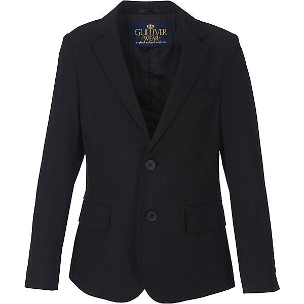 Пиджак для мальчика GulliverКостюмы и пиджаки<br>Характеристики товара:<br><br>• цвет: черный<br>• состав: 10% шерсть, 25% вискоза, 65% полиэстер<br>• подкладка: 50% вискоза, 50% полиэстер <br>• сезон: демисезон<br>• застежки: пуговицы<br>• особенности: школьный, на подкладке<br>• страна бренда: Российская Федерация<br>• страна производства: Российская Федерация<br><br>Школьный пиджак для мальчика. Черный пиджак на подкладке застегивается на пуговицы.<br><br>Пиджак для мальчика Gulliver (Гулливер) можно купить в нашем интернет-магазине.<br>Ширина мм: 190; Глубина мм: 74; Высота мм: 229; Вес г: 236; Цвет: черный; Возраст от месяцев: 72; Возраст до месяцев: 84; Пол: Мужской; Возраст: Детский; Размер: 122,170,164,158,152,146,140,134,128; SKU: 6678496;