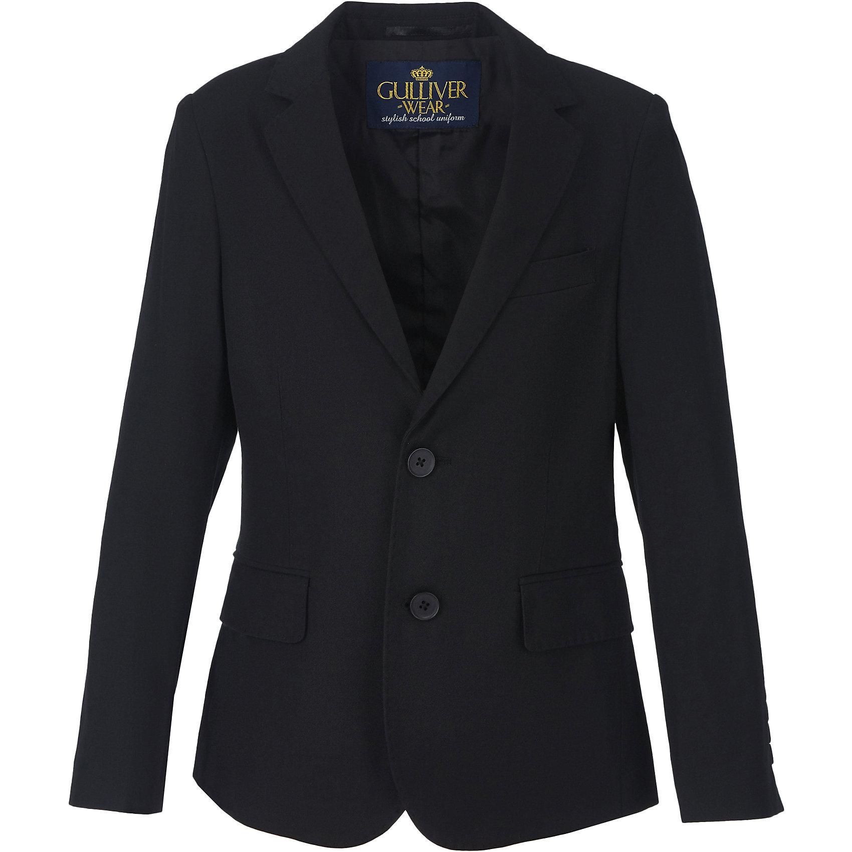 Пиджак для мальчика GulliverПиджаки и костюмы<br>Замечательный черный пиджак выполняет функцию главного делового атрибута школьника. Он уместен для ежедневной носки и незаменим для торжественных мероприятий. Отточенная форма модели, две шлицы сзади, детальная проработка элементов подкладки делают пиджак ярким элементом образа. Именно такими и должны быть стильные пиджаки для мальчиков - элегантными, качественными,  практичными. Хороший состав ткани позволяет носить пиджак продолжительное время в течение дня, ощущая полный комфорт и свободу движений. Школьные пиджаки для мальчиков от Gulliver помогут детям чувствовать себя уверенно и достойно.<br>Состав:<br>Верх: 10% шерсть 25% вискоза 65% полиэстер; Подкладка: 50% вискоза 50% полиэстер<br><br>Ширина мм: 190<br>Глубина мм: 74<br>Высота мм: 229<br>Вес г: 236<br>Цвет: черный<br>Возраст от месяцев: 72<br>Возраст до месяцев: 84<br>Пол: Мужской<br>Возраст: Детский<br>Размер: 122,170,128,134,140,146,152,158,164<br>SKU: 6678496