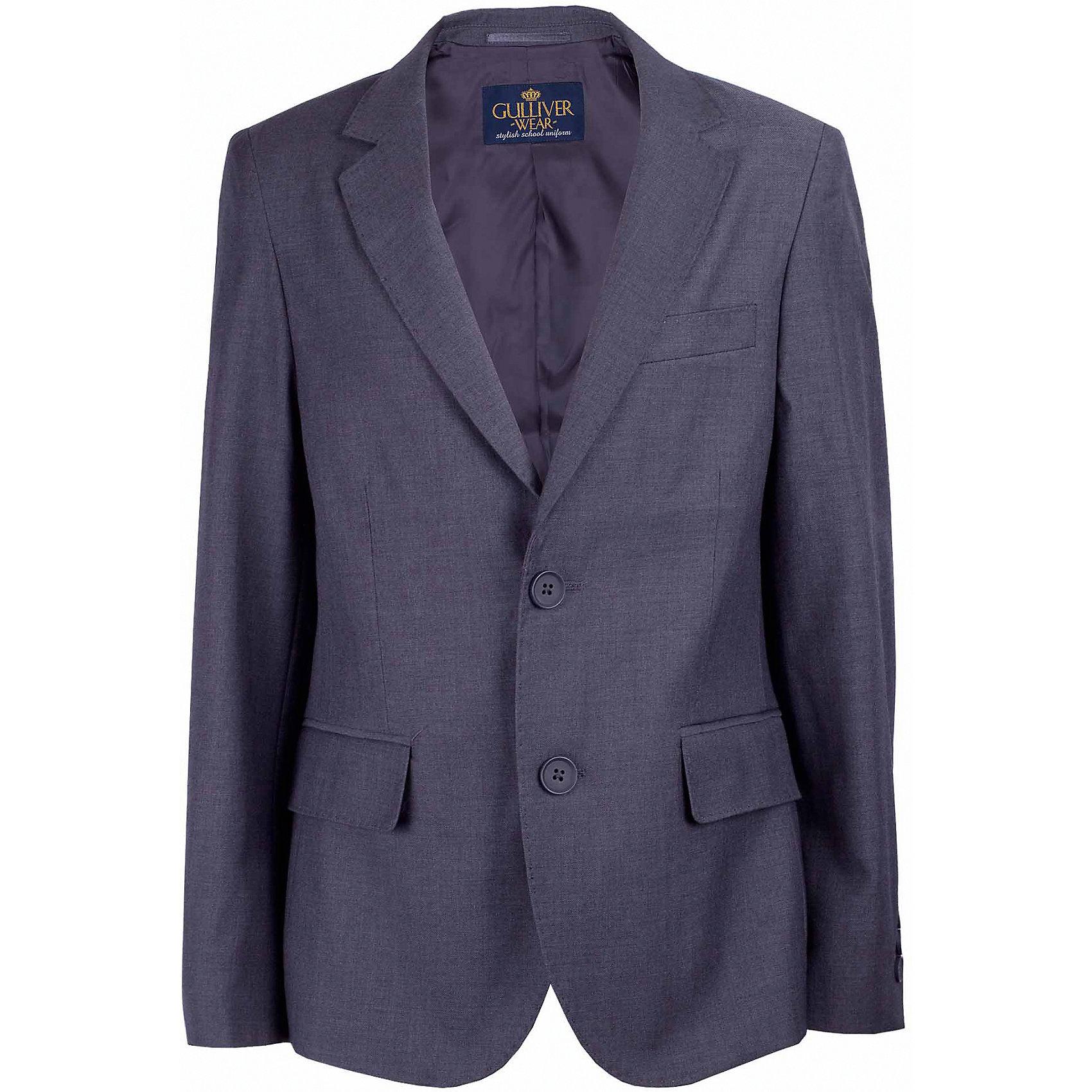 Пиджак для мальчика GulliverПиджаки и костюмы<br>Характеристики товара:<br><br>• цвет: серый<br>• состав: 10% шерсть, 25% вискоза, 65% полиэстер<br>• подкладка: 50% вискоза, 50% полиэстер <br>• сезон: демисезон<br>• застежки: пуговицы<br>• особенности: школьный, на подкладке<br>• страна бренда: Российская Федерация<br>• страна производства: Российская Федерация<br><br>Школьный пиджак для мальчика. Серый пиджак на подкладке застегивается на пуговицы.<br><br>Пиджак для мальчика Gulliver (Гулливер) можно купить в нашем интернет-магазине.<br><br>Ширина мм: 190<br>Глубина мм: 74<br>Высота мм: 229<br>Вес г: 236<br>Цвет: серый<br>Возраст от месяцев: 168<br>Возраст до месяцев: 180<br>Пол: Мужской<br>Возраст: Детский<br>Размер: 170,122,128,134,140,146,152,158,164<br>SKU: 6678506