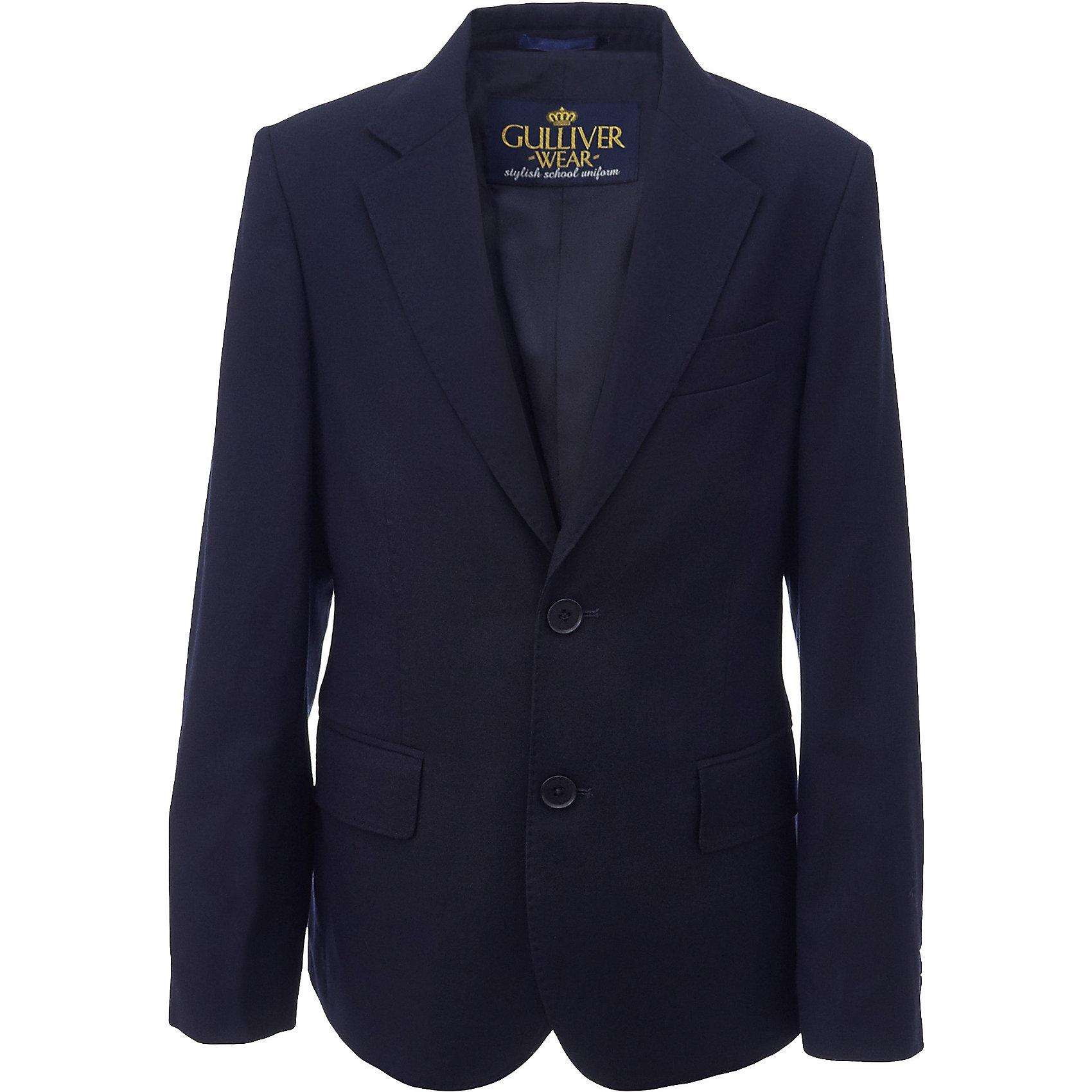 Пиджак для мальчика GulliverПиджаки и костюмы<br>Характеристики товара:<br><br>• цвет: синий<br>• состав: 10% шерсть, 25% вискоза, 65% полиэстер<br>• подкладка: 50% вискоза, 50% полиэстер <br>• сезон: демисезон<br>• застежки: пуговицы<br>• особенности: школьный, на подкладке<br>• страна бренда: Российская Федерация<br>• страна производства: Российская Федерация<br><br>Школьный пиджак для мальчика. Синий пиджак на подкладке застегивается на пуговицы.<br><br>Пиджак для мальчика Gulliver (Гулливер) можно купить в нашем интернет-магазине.<br><br>Ширина мм: 190<br>Глубина мм: 74<br>Высота мм: 229<br>Вес г: 236<br>Цвет: синий<br>Возраст от месяцев: 84<br>Возраст до месяцев: 96<br>Пол: Мужской<br>Возраст: Детский<br>Размер: 128,170,122,134,140,146,152,158,164<br>SKU: 6678516