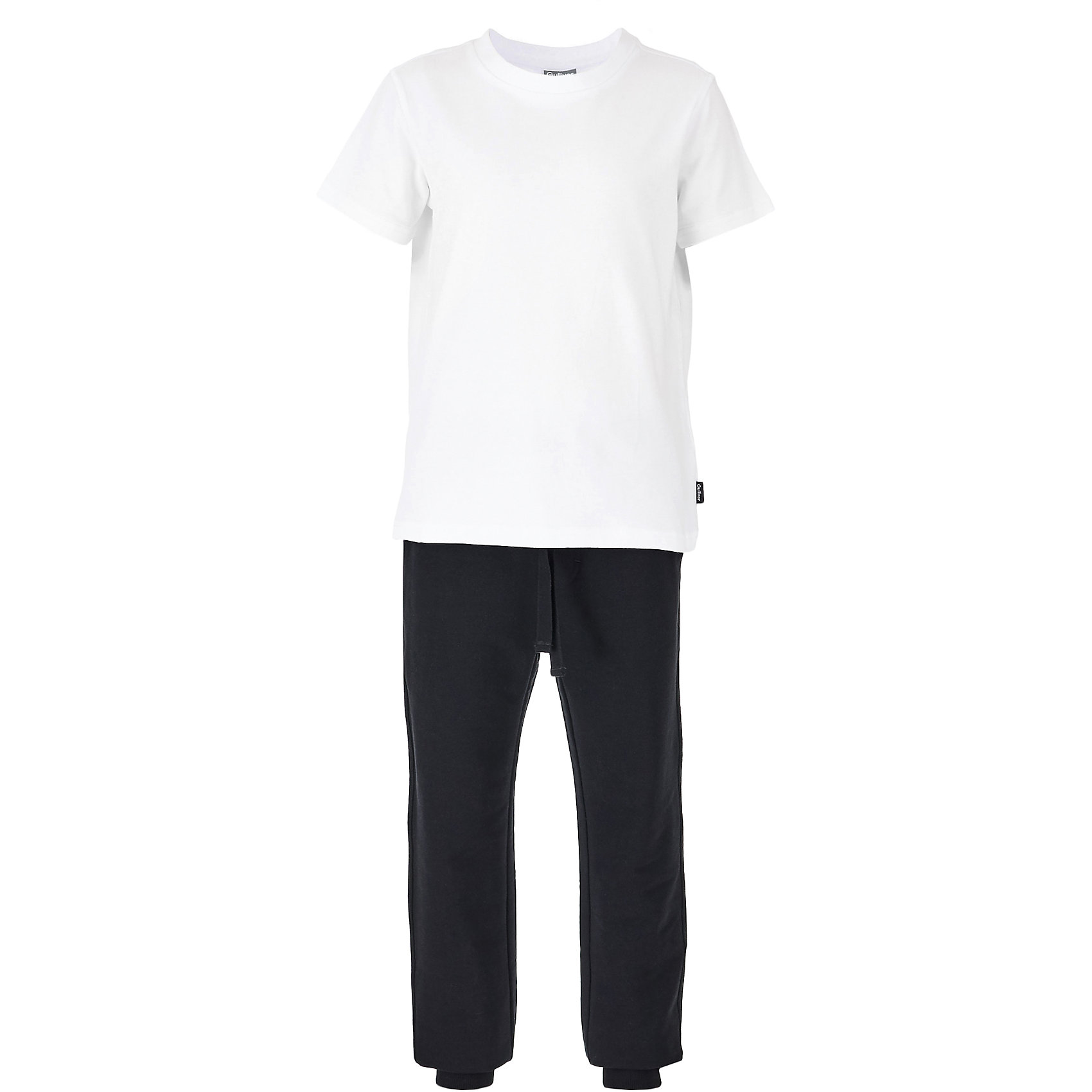 Комплект: футболка, брюки и мешок для мальчика GulliverСпортивная форма<br>Характеристики товара:<br><br>• цвет: белый, черный<br>• футболка: 95% хлопок, 5% эластан<br>• брюки: 95% хлопок, 5% эластан<br>• мешочек: 100% хлопок<br>• сезон: круглый год<br>• брюки на резинке<br>• дополнительный шнурок-завязка<br>• два прорезных кармана <br>• футболка однотонная<br>• особенности: для занятий физкультурой/спортом<br>• страна бренда: Российская Федерация<br>• страна производства: Российская Федерация<br><br>Школьная спортивная форма состоит из футболки и брюк. Брюки на резинке с дополнительным шнурком-завязкой. Внизу брюк эластичные манжеты. Однотонная футболка белого цвета. В комплекте мешочек, куда можно складывать форму.<br><br>Комплект: футболка, брюки и мешок для мальчика Gulliver (Гулливер) можно купить в нашем интернет-магазине.<br><br>Ширина мм: 215<br>Глубина мм: 88<br>Высота мм: 191<br>Вес г: 336<br>Цвет: белый<br>Возраст от месяцев: 144<br>Возраст до месяцев: 156<br>Пол: Мужской<br>Возраст: Детский<br>Размер: 158,122,128,134,140,146,152<br>SKU: 6678526