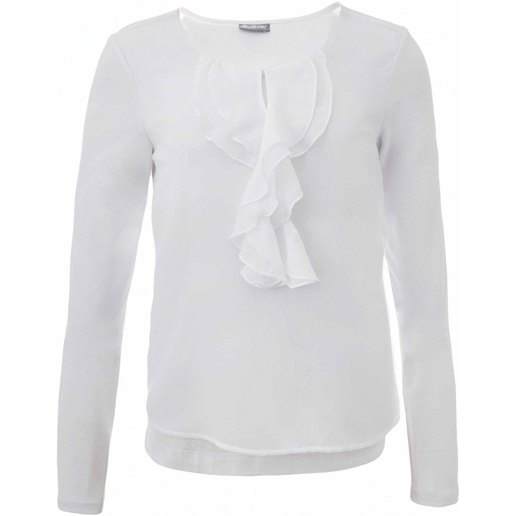 Блузка для девочки GulliverБлузки и рубашки<br>В преддверии учебного сезона, купить школьную блузку для девочки необходимо! Модные школьные блузки 2017 будут пользоваться заслуженным спросом, т.к. они - важная составляющая элегантного школьного гардероба. Белая школьная блузка с красивым воланом из мягкого пластичного трикотажа - достойная альтернатива текстильной блузке! Она имеет прекрасный внешний вид и соответствует школьному дресс коду, но более комфортна, не стесняет движений, позволяя девочке быть самой собой. Школьная белая блузка для девочек от Gulliver сделает образ ребенка романтичным, элегантным, изысканным.<br>Состав:<br>95% хлопок      5% эластан<br><br>Ширина мм: 186<br>Глубина мм: 87<br>Высота мм: 198<br>Вес г: 197<br>Цвет: белый<br>Возраст от месяцев: 168<br>Возраст до месяцев: 180<br>Пол: Женский<br>Возраст: Детский<br>Размер: 170,122,128,134,140,146,152,158,164<br>SKU: 6678622