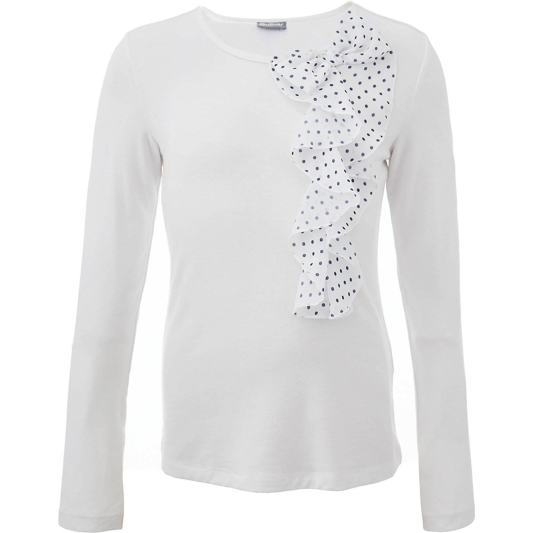 Блузка для девочки GulliverБлузки и рубашки<br>В преддверии учебного сезона, купить школьную блузку для девочки необходимо! Модные школьные блузки 2017 будут пользоваться заслуженным спросом, т.к. они - важная составляющая элегантного школьного гардероба. Белая школьная блузка с красивым воланом из мягкого пластичного трикотажа - достойная альтернатива текстильной блузке! Она имеет прекрасный внешний вид и соответствует школьному дресс коду, но более комфортна, не стесняет движений, позволяя девочке быть самой собой. Школьная белая блузка для девочек от Gulliver сделает образ ребенка романтичным, элегантным, изысканным.<br>Состав:<br>76% вискоза    19% полиэстер    5% эластан<br><br>Ширина мм: 186<br>Глубина мм: 87<br>Высота мм: 198<br>Вес г: 197<br>Цвет: белый<br>Возраст от месяцев: 168<br>Возраст до месяцев: 180<br>Пол: Женский<br>Возраст: Детский<br>Размер: 170,122,128,134,140,146,152,158,164<br>SKU: 6678632