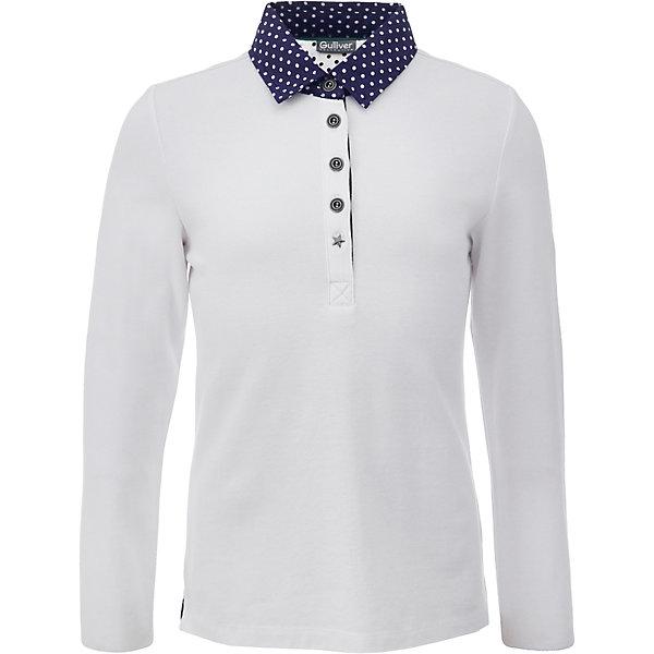Рубашка-поло для девочки GulliverФутболки с длинным рукавом<br>Характеристики товара:<br><br>• цвет: белый<br>• состав: 95% хлопок, 5% эластан <br>• сезон: демисезон<br>• застежки: пуговицы<br>• воротник-поло<br>• манжеты на пуговицах<br>• особенности: школьная, повседневная<br>• страна бренда: Российская Федерация<br>• страна производства: Российская Федерация<br><br>Школьная рубашка-поло для девочки. Белая рубашка-поло с контрастным воротником и манжетами синего цвета в белый горох. Манжеты рукавов на пуговице.<br><br>Футболку-поло для девочки Gulliver (Гулливер) можно купить в нашем интернет-магазине.<br><br>Ширина мм: 199<br>Глубина мм: 10<br>Высота мм: 161<br>Вес г: 151<br>Цвет: белый<br>Возраст от месяцев: 72<br>Возраст до месяцев: 84<br>Пол: Женский<br>Возраст: Детский<br>Размер: 158,152,146,140,134,128,122,170,164<br>SKU: 6678672