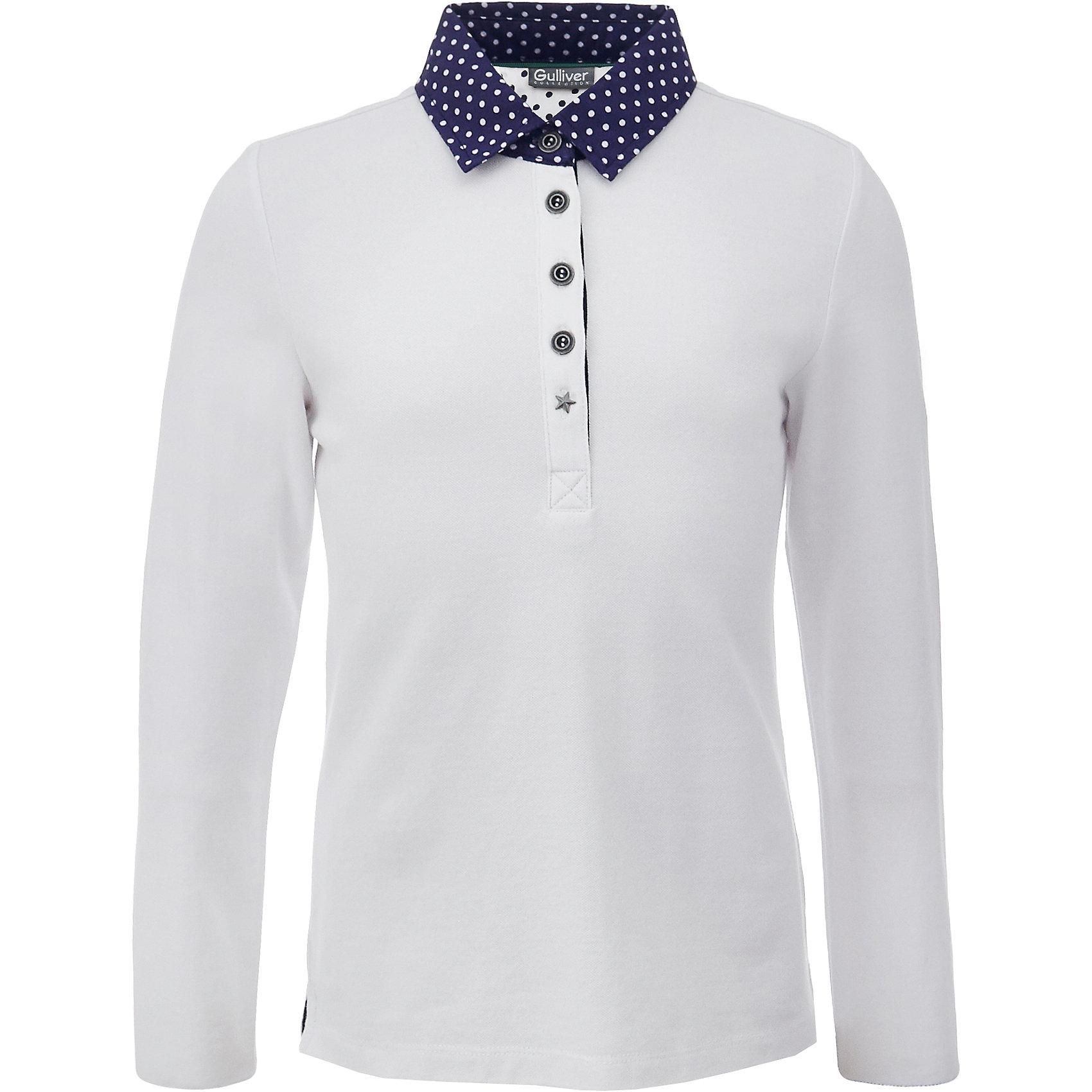 Рубашка-поло для девочки GulliverБлузки и рубашки<br>Характеристики товара:<br><br>• цвет: белый<br>• состав: 95% хлопок, 5% эластан <br>• сезон: демисезон<br>• застежки: пуговицы<br>• воротник-поло<br>• манжеты на пуговицах<br>• особенности: школьная, повседневная<br>• страна бренда: Российская Федерация<br>• страна производства: Российская Федерация<br><br>Школьная рубашка-поло для девочки. Белая рубашка-поло с контрастным воротником и манжетами синего цвета в белый горох. Манжеты рукавов на пуговице.<br><br>Футболку-поло для девочки Gulliver (Гулливер) можно купить в нашем интернет-магазине.<br><br>Ширина мм: 199<br>Глубина мм: 10<br>Высота мм: 161<br>Вес г: 151<br>Цвет: белый<br>Возраст от месяцев: 168<br>Возраст до месяцев: 180<br>Пол: Женский<br>Возраст: Детский<br>Размер: 170,122,128,134,140,146,152,158,164<br>SKU: 6678672