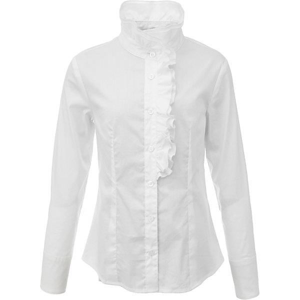 Блузка для девочки GulliverБлузки и рубашки<br>Характеристики товара:<br><br>• цвет: белый<br>• состав: 75% хлопок, 23% полиэстер, 2% эластан <br>• сезон: демисезон<br>• с длинным рукавом<br>• декорирована рюшей<br>• застежка: пуговицы<br>• манжеты на трех пуговицах<br>• особенности: школьная<br>• страна бренда: Российская Федерация<br>• страна производства: Российская Федерация<br><br>Школьная блузка с длинным рукавом для девочки. Белая блузка с рюшами застегивается на пуговицы, рукава манжетов на трех пуговицах.<br><br>Блузку для девочки Gulliver (Гулливер) можно купить в нашем интернет-магазине.<br>Ширина мм: 186; Глубина мм: 87; Высота мм: 198; Вес г: 197; Цвет: белый; Возраст от месяцев: 72; Возраст до месяцев: 84; Пол: Женский; Возраст: Детский; Размер: 122,170,164,158,152,146,140,134,128; SKU: 6678708;