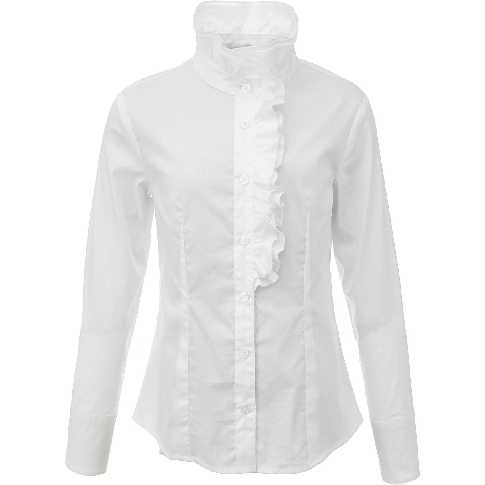 Блузка для девочки GulliverБлузки и рубашки<br>Какими должны быть красивые блузки для девочек? Блузка с жабо, с бантом, с рюшей или лаконичный строгий вариант без яркой отделки... Школьные блузки 2017 могут быть разными! Нарядная белая блузка хороша и для каждого дня, и для торжественных школьных мероприятий. Прекрасная ткань, красивая форма, элегантное оформление двойной асимметричной рюшей делают блузку интересной и привлекательной. Купить детскую блузку стоит в преддверии учебного года, ведь 1 сентября эта модель понадобится как никогда. Она подчеркнет торжественность момента, сделав образ школьницы нарядным, элегантным, изысканным.<br>Состав:<br>75% хлопок 23% полиэстер 2% эластан<br><br>Ширина мм: 186<br>Глубина мм: 87<br>Высота мм: 198<br>Вес г: 197<br>Цвет: белый<br>Возраст от месяцев: 168<br>Возраст до месяцев: 180<br>Пол: Женский<br>Возраст: Детский<br>Размер: 170,122,128,134,140,146,152,158,164<br>SKU: 6678708