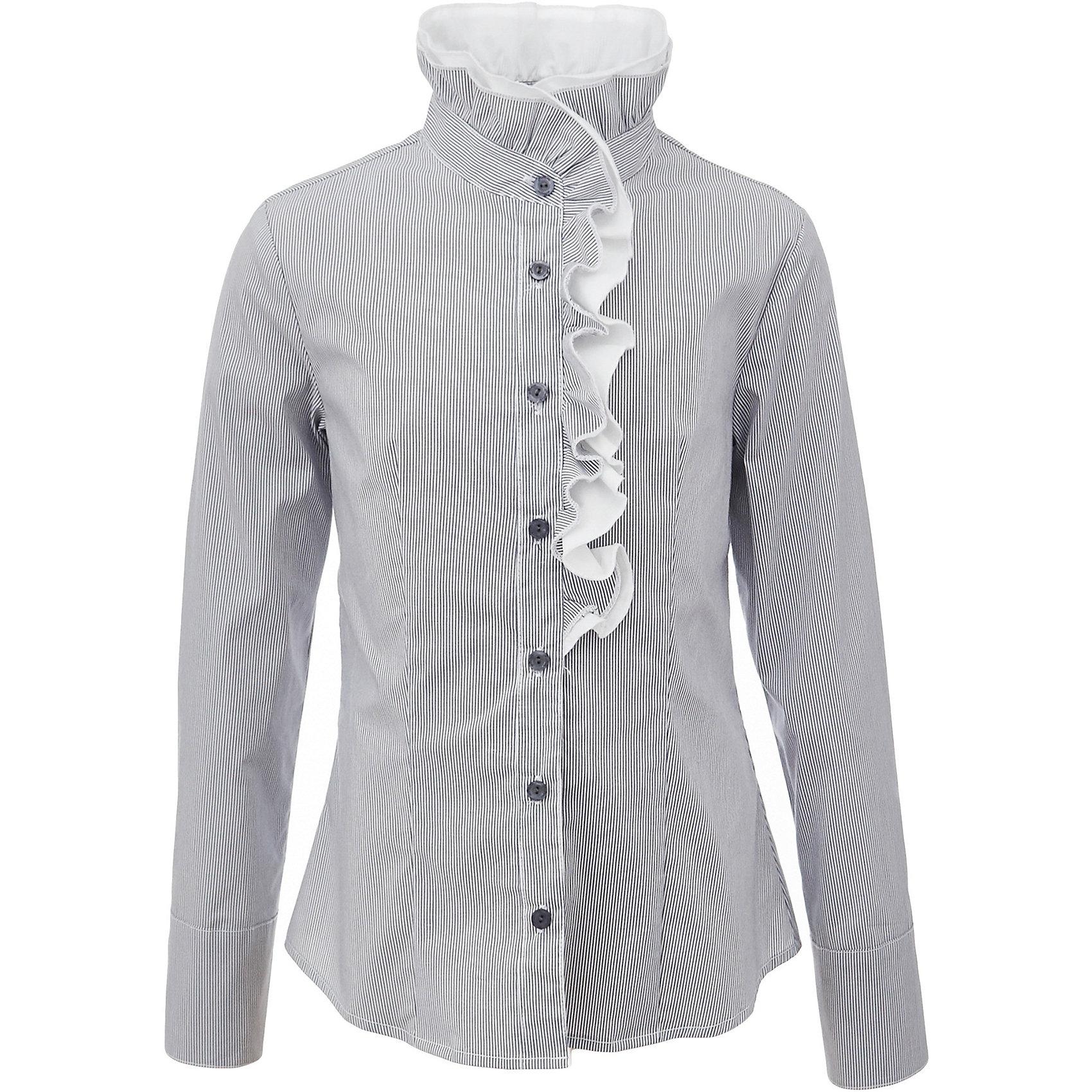 Блузка для девочки GulliverБлузки и рубашки<br>Характеристики товара:<br><br>• цвет: серый<br>• состав: 75% хлопок, 23% полиэстер, 2% эластан <br>• сезон: демисезон<br>• декорирована рюшей<br>• с длинным рукавом<br>• застежка: пуговицы<br>• манжеты на пуговицах<br>• особенности: школьная, в полоску<br>• страна бренда: Российская Федерация<br>• страна производства: Российская Федерация<br><br>Школьная блузка с длинным рукавом для девочки. Серая блузка в полоску застегивается на пуговицы, манжеты рукавов на пуговицах. Блузка с рюшами контрастного белого цвета.<br><br>Блузку для девочки Gulliver (Гулливер) можно купить в нашем интернет-магазине.<br><br>Ширина мм: 186<br>Глубина мм: 87<br>Высота мм: 198<br>Вес г: 197<br>Цвет: серый<br>Возраст от месяцев: 168<br>Возраст до месяцев: 180<br>Пол: Женский<br>Возраст: Детский<br>Размер: 170,122,128,134,140,146,152,158,164<br>SKU: 6678718