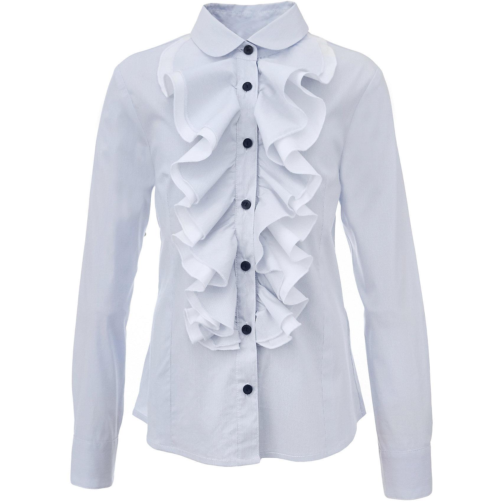 Блузка для девочки GulliverБлузки и рубашки<br>Какими должны быть красивые блузки для девочек: блузка с жабо, с бантом, с рюшей или лаконичный строгий вариант без яркой отделки? Школьные блузки 2017 могут быть разными! Нарядная блузка нежного голубого цвета в полоску хороша и для каждого дня, и для торжественных школьных мероприятий. Прекрасная ткань, красивая форма, элегантное оформление крупными пышными рюшами делают блузку интересной и привлекательной. Купить детскую блузку стоит в преддверии учебного года, ведь 1 сентября эта модель понадобится как никогда. Она подчеркнет торжественность момента, сделав образ школьницы нарядным, элегантным, изысканным.<br>Состав:<br>75% хлопок 23% полиэстер 2% эластан<br><br>Ширина мм: 186<br>Глубина мм: 87<br>Высота мм: 198<br>Вес г: 197<br>Цвет: голубой<br>Возраст от месяцев: 168<br>Возраст до месяцев: 180<br>Пол: Женский<br>Возраст: Детский<br>Размер: 122,170,128,134,140,146,152,158,164<br>SKU: 6678728