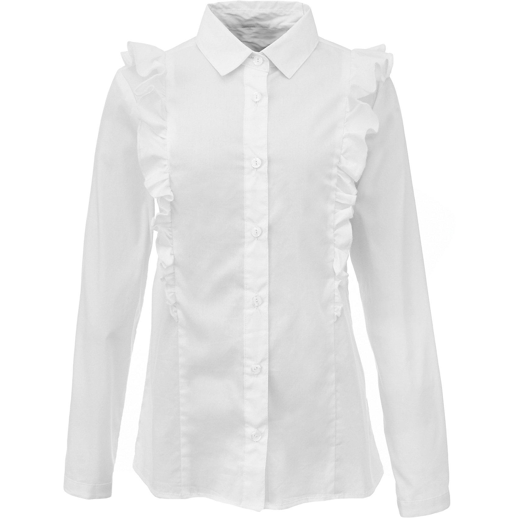 Блузка для девочки GulliverБлузки и рубашки<br>Характеристики товара:<br><br>• цвет: белый<br>• состав: 75% хлопок, 23% полиэстер, 2% эластан <br>• декорирована рюшами<br>• с длинным рукавом<br>• застежка: пуговицы<br>• особенности: школьная, однотонная<br>• страна бренда: Российская Федерация<br>• страна производства: Российская Федерация<br><br>Школьная блузка с длинным рукавом для девочки. Белая блузка с рюшами застегивается на пуговицы, манжеты рукавов на эластичной резинке.<br><br>Блузку для девочки Gulliver (Гулливер) можно купить в нашем интернет-магазине.<br><br>Ширина мм: 186<br>Глубина мм: 87<br>Высота мм: 198<br>Вес г: 197<br>Цвет: белый<br>Возраст от месяцев: 168<br>Возраст до месяцев: 180<br>Пол: Женский<br>Возраст: Детский<br>Размер: 170,122,164,158,152,146,140,134,128<br>SKU: 6678738