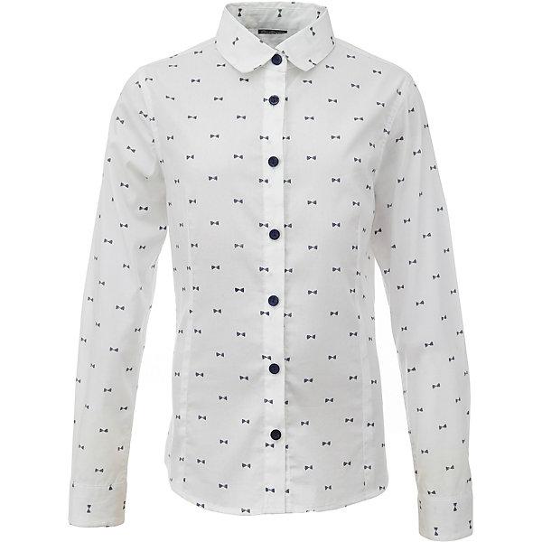 Блузка для девочки GulliverБлузки и рубашки<br>Характеристики товара:<br><br>• цвет: белый<br>• состав: 75% хлопок, 23% полиэстер, 2% эластан <br>• сезон: демисезон<br>• с длинным рукавом<br>• застежка: пуговицы<br>• манжеты на пуговице<br>• особенности: школьная, с рисунком<br>• страна бренда: Российская Федерация<br>• страна производства: Российская Федерация<br><br>Школьная блузка с длинным рукавом для девочки. Блузка застегивается на пуговицы контрастного синего цвета, манжеты рукавов на одной пуговице. Блузка с мелким рисунком.<br><br>Блузку для девочки Gulliver (Гулливер) можно купить в нашем интернет-магазине.<br><br>Ширина мм: 186<br>Глубина мм: 87<br>Высота мм: 198<br>Вес г: 197<br>Цвет: белый<br>Возраст от месяцев: 108<br>Возраст до месяцев: 120<br>Пол: Женский<br>Возраст: Детский<br>Размер: 140,134,128,122,170,164,158,152,146<br>SKU: 6678748