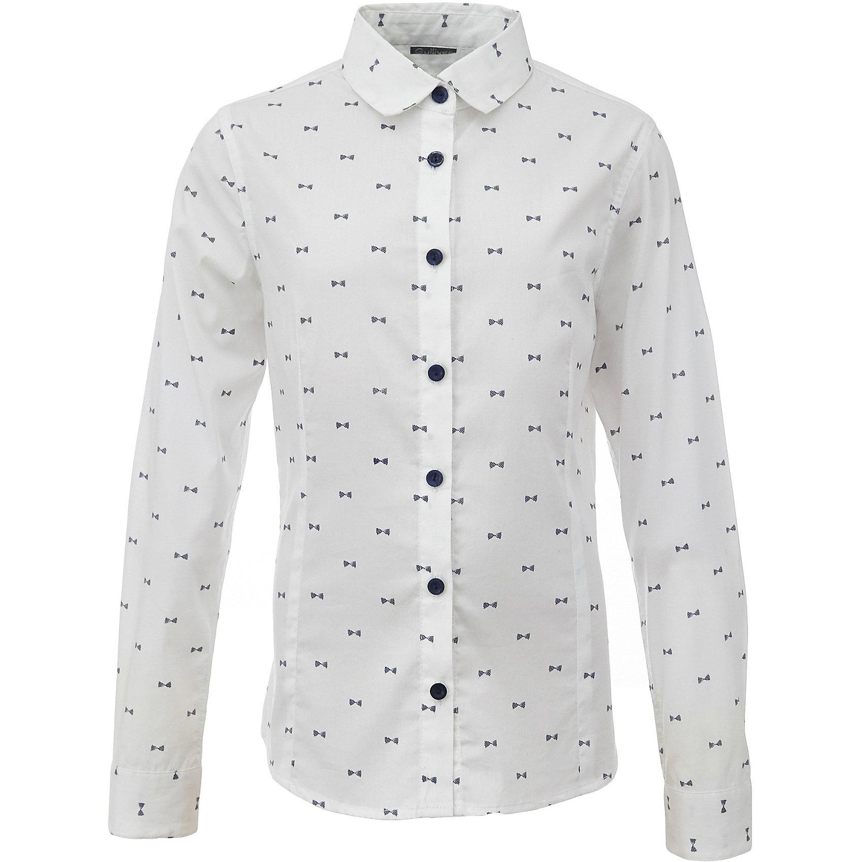 Блузка для девочки GulliverБлузки и рубашки<br>Характеристики товара:<br><br>• цвет: белый<br>• состав: 75% хлопок, 23% полиэстер, 2% эластан <br>• сезон: демисезон<br>• с длинным рукавом<br>• застежка: пуговицы<br>• манжеты на пуговице<br>• особенности: школьная, с рисунком<br>• страна бренда: Российская Федерация<br>• страна производства: Российская Федерация<br><br>Школьная блузка с длинным рукавом для девочки. Блузка застегивается на пуговицы контрастного синего цвета, манжеты рукавов на одной пуговице. Блузка с мелким рисунком.<br><br>Блузку для девочки Gulliver (Гулливер) можно купить в нашем интернет-магазине.<br><br>Ширина мм: 186<br>Глубина мм: 87<br>Высота мм: 198<br>Вес г: 197<br>Цвет: белый<br>Возраст от месяцев: 72<br>Возраст до месяцев: 84<br>Пол: Женский<br>Возраст: Детский<br>Размер: 122,170,128,134,140,146,152,158,164<br>SKU: 6678748