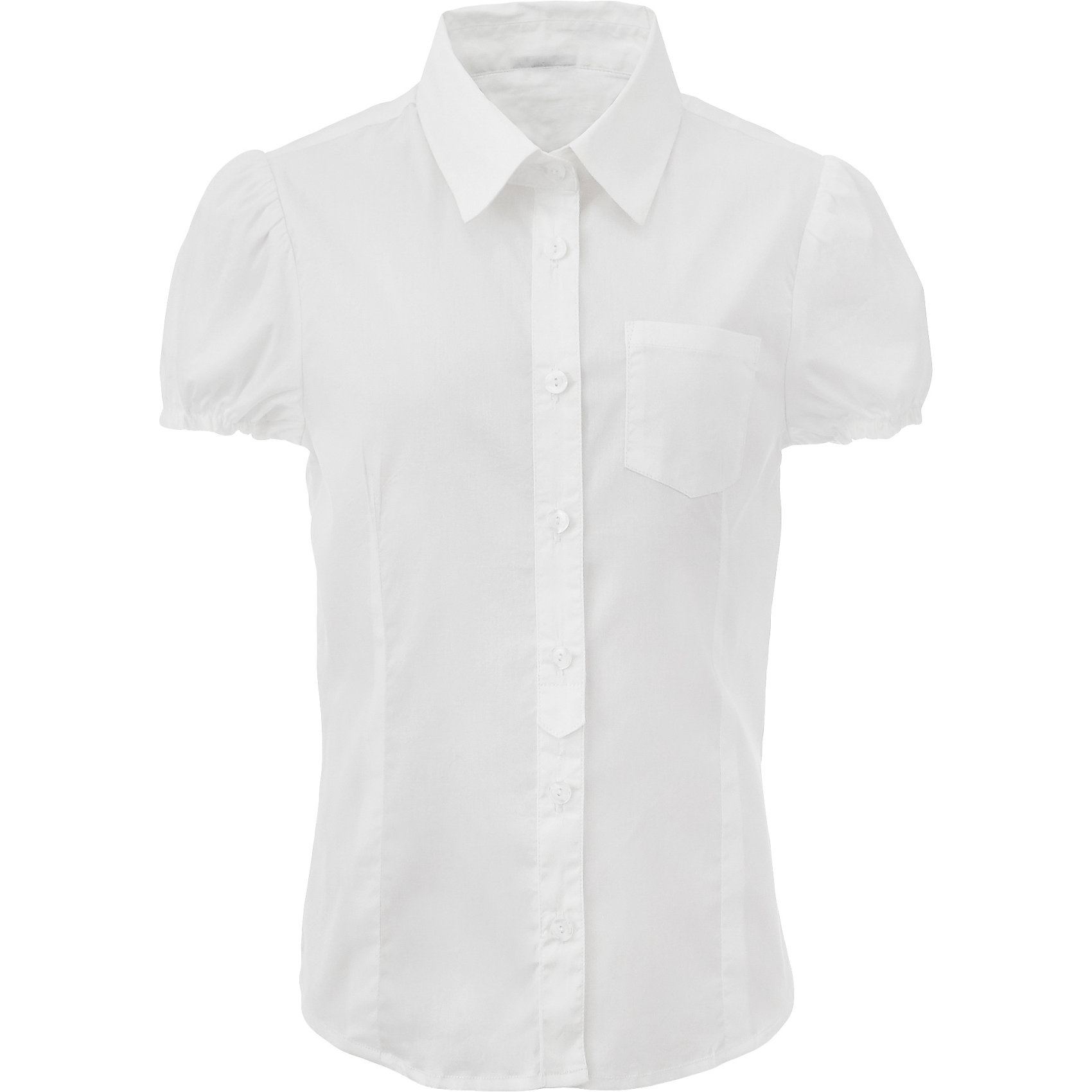 Блузка для девочки GulliverБлузки и рубашки<br>Если вы хотите купить школьную блузку для девочки, не ограничивайте свой выбор блузками с длинным рукавом. Красивые блузки для школы могут быть разными! Блузка с коротким рукавом - прекрасный вариант для жарких классов. С жакетом или кардиганом, белая блузка для девочек будет выглядеть стильно, красиво, достойно. Строгая, лаконичная, белая блузка сделает образ свежим и элегантным.<br>Состав:<br>75% хлопок 23% полиэстер 2% эластан<br><br>Ширина мм: 186<br>Глубина мм: 87<br>Высота мм: 198<br>Вес г: 197<br>Цвет: белый<br>Возраст от месяцев: 168<br>Возраст до месяцев: 180<br>Пол: Женский<br>Возраст: Детский<br>Размер: 170,122,128,134,140,146,152,158,164<br>SKU: 6678768