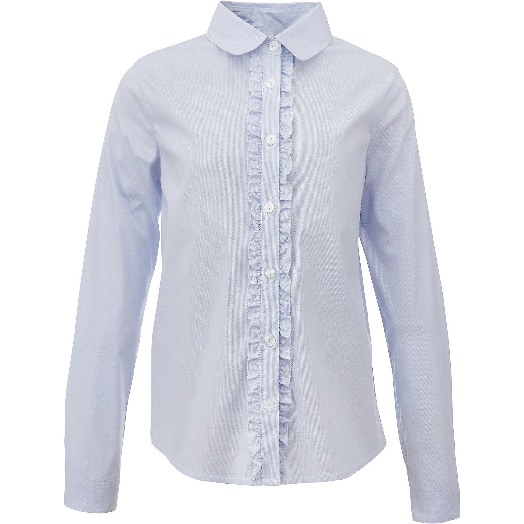 Блузка для девочки GulliverБлузки и рубашки<br>Характеристики товара:<br><br>• цвет: голубой<br>• состав: 75% хлопок, 23% полиэстер, 2% эластан <br>• сезон: демисезон<br>• с длинным рукавом<br>• застежка: пуговицы<br>• манжеты на пуговице<br>• планка декорирована рюшами<br>• особенности: школьная, однотонная<br>• страна бренда: Российская Федерация<br>• страна производства: Российская Федерация<br><br>Школьная блузка с длинным рукавом для девочки. Голубая блузка с рюшами застегивается на пуговицы. Манжеты рукавов на одной пуговице.<br><br>Блузку для девочки Gulliver (Гулливер) можно купить в нашем интернет-магазине.<br><br>Ширина мм: 186<br>Глубина мм: 87<br>Высота мм: 198<br>Вес г: 197<br>Цвет: голубой<br>Возраст от месяцев: 84<br>Возраст до месяцев: 96<br>Пол: Женский<br>Возраст: Детский<br>Размер: 170,122,134,140,146,152,158,164,128<br>SKU: 6678778