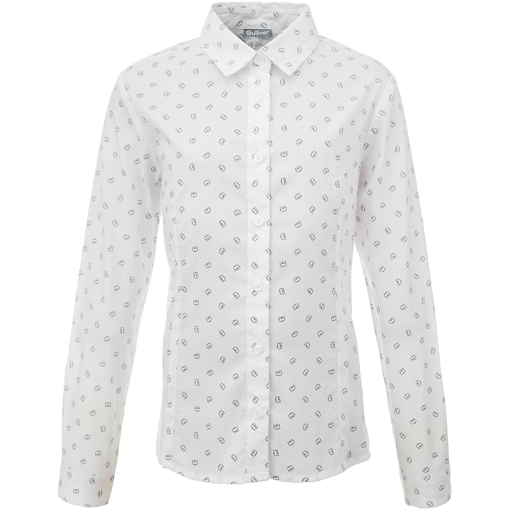 Блузка для девочки GulliverБлузки и рубашки<br>Если вы хотите купить школьную блузку для девочки, не ограничивайте свой выбор исключительно белыми блузками. Красивые блузки для школы могут быть разными! Модные школьные блузки 2017 - это блузки в мелкий рисунок! Блузка в бантики,  сумочки, горошек - отличный вариант на каждый день! Деликатный мелкий рисунок не нарушает школьного дресс кода, но создает позитивное настроение. Белая блузка с рисунком разнообразит школьные будни ученицы и сделает ее образ свежим и выразительным.<br>Состав:<br>75% хлопок 23% полиэстер 2% эластан<br><br>Ширина мм: 186<br>Глубина мм: 87<br>Высота мм: 198<br>Вес г: 197<br>Цвет: белый<br>Возраст от месяцев: 168<br>Возраст до месяцев: 180<br>Пол: Женский<br>Возраст: Детский<br>Размер: 170,122,128,134,140,146,152,158,164<br>SKU: 6678788