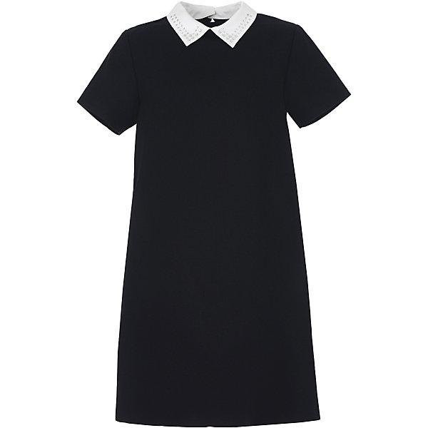 Платье для девочки GulliverПлатья и сарафаны<br>Характеристики товара:<br><br>• цвет: черный<br>• состав: 58% полиэстер, 31% вискоза, 10% шерсть, 1% эластан<br>• подкладка: 52% полиэстер, 48% вискоза <br>• застежка: молния<br>• с коротким рукавом<br>• отстегивающийся воротник со стразами<br>• карманы в боковых швах<br>• трапециевидный силуэт<br>• особенности: школьное, строгое<br>• страна бренда: Российская Федерация<br>• страна производства: Российская Федерация<br><br>Школьное платье с коротким рукавом для девочки. Строго черное платье застгивается на молни на спине. Два кармана в боковых швах. Платье декорировано съемным белым воротничком со стразами. <br><br>Платье для девочки Gulliver (Гулливер) можно купить в нашем интернет-магазине.<br><br>Ширина мм: 236<br>Глубина мм: 16<br>Высота мм: 184<br>Вес г: 177<br>Цвет: черный<br>Возраст от месяцев: 72<br>Возраст до месяцев: 84<br>Пол: Женский<br>Возраст: Детский<br>Размер: 122,170,164,158,152,146,140,134,128<br>SKU: 6678816