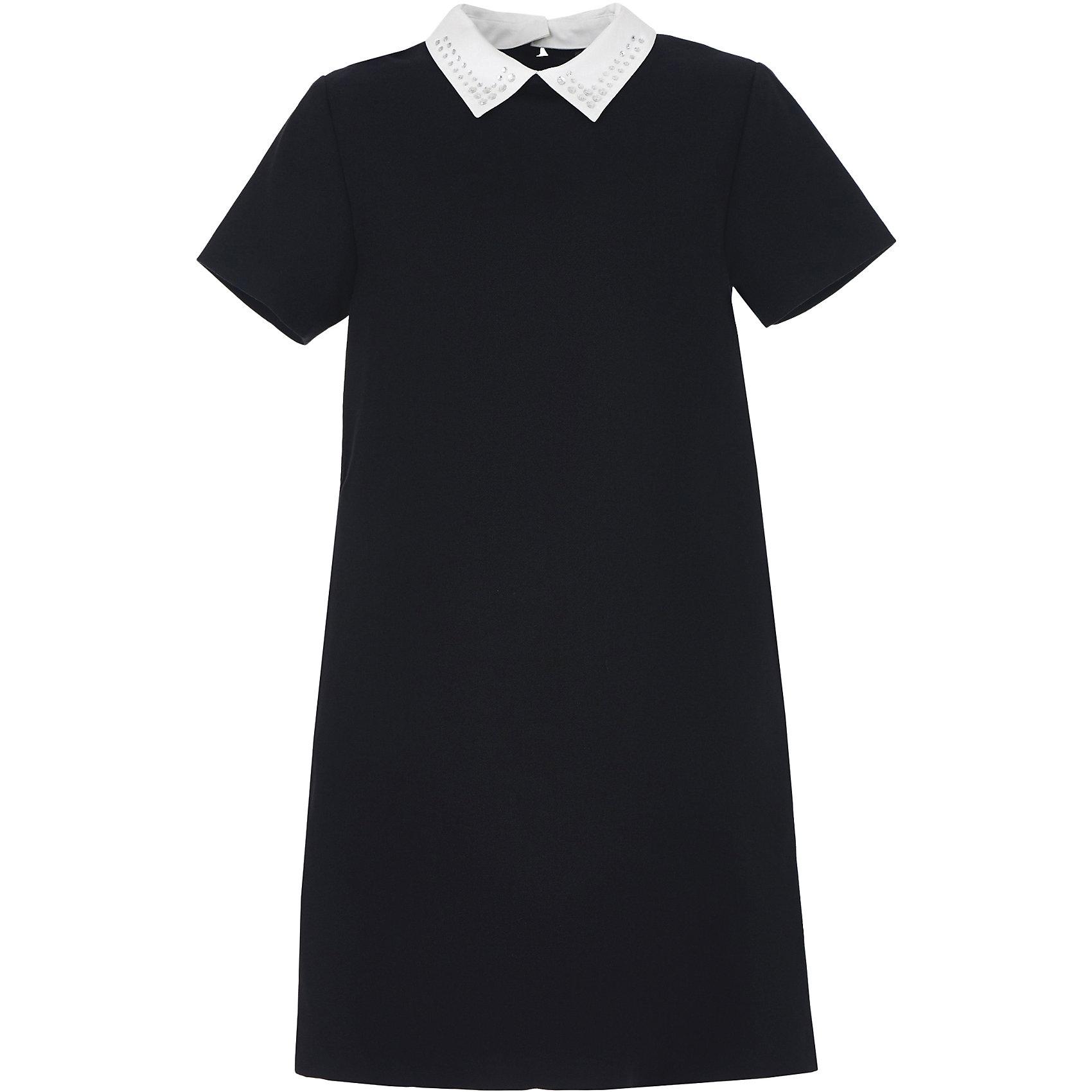 Платье для девочки GulliverПлатья и сарафаны<br>Характеристики товара:<br><br>• цвет: черный<br>• состав: 58% полиэстер, 31% вискоза, 10% шерсть, 1% эластан<br>• подкладка: 52% полиэстер, 48% вискоза <br>• застежка: молния<br>• с коротким рукавом<br>• отстегивающийся воротник со стразами<br>• карманы в боковых швах<br>• трапециевидный силуэт<br>• особенности: школьное, строгое<br>• страна бренда: Российская Федерация<br>• страна производства: Российская Федерация<br><br>Школьное платье с коротким рукавом для девочки. Строго черное платье застгивается на молни на спине. Два кармана в боковых швах. Платье декорировано съемным белым воротничком со стразами. <br><br>Платье для девочки Gulliver (Гулливер) можно купить в нашем интернет-магазине.<br><br>Ширина мм: 236<br>Глубина мм: 16<br>Высота мм: 184<br>Вес г: 177<br>Цвет: черный<br>Возраст от месяцев: 132<br>Возраст до месяцев: 144<br>Пол: Женский<br>Возраст: Детский<br>Размер: 152,158,164,170,122,128,134,140,146<br>SKU: 6678816
