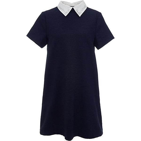 Платье для девочки GulliverПлатья и сарафаны<br>Характеристики товара:<br><br>• цвет: синий<br>• состав: 58% полиэстер, 31% вискоза, 10% шерсть, 1% эластан<br>• подкладка: 52% полиэстер, 48% вискоза <br>• застежка: молния<br>• с коротким рукавом<br>• отстегивающийся воротник со стразами<br>• карманы в боковых швах<br>• трапециевидный силуэт<br>• особенности: школьное, строгое<br>• страна бренда: Российская Федерация<br>• страна производства: Российская Федерация<br><br>Школьное платье с коротким рукавом для девочки. Строго синее платье застгивается на молнию на спине. Два кармана в боковых швах. Платье декорировано съемным белым воротничком со стразами. <br><br>Платье для девочки Gulliver (Гулливер) можно купить в нашем интернет-магазине.<br><br>Ширина мм: 236<br>Глубина мм: 16<br>Высота мм: 184<br>Вес г: 177<br>Цвет: синий<br>Возраст от месяцев: 72<br>Возраст до месяцев: 84<br>Пол: Женский<br>Возраст: Детский<br>Размер: 122,164,158,170,152,146,140,134,128<br>SKU: 6678826