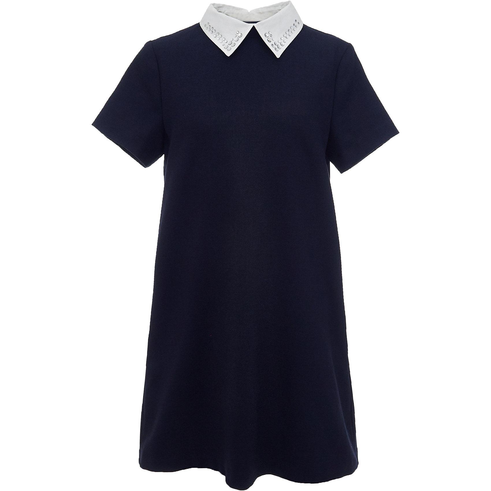 Платье для девочки GulliverПлатья и сарафаны<br>Характеристики товара:<br><br>• цвет: синий<br>• состав: 58% полиэстер, 31% вискоза, 10% шерсть, 1% эластан<br>• подкладка: 52% полиэстер, 48% вискоза <br>• застежка: молния<br>• с коротким рукавом<br>• отстегивающийся воротник со стразами<br>• карманы в боковых швах<br>• трапециевидный силуэт<br>• особенности: школьное, строгое<br>• страна бренда: Российская Федерация<br>• страна производства: Российская Федерация<br><br>Школьное платье с коротким рукавом для девочки. Строго синее платье застгивается на молнию на спине. Два кармана в боковых швах. Платье декорировано съемным белым воротничком со стразами. <br><br>Платье для девочки Gulliver (Гулливер) можно купить в нашем интернет-магазине.<br><br>Ширина мм: 236<br>Глубина мм: 16<br>Высота мм: 184<br>Вес г: 177<br>Цвет: синий<br>Возраст от месяцев: 168<br>Возраст до месяцев: 180<br>Пол: Женский<br>Возраст: Детский<br>Размер: 170,122,128,134,140,146,152,158,164<br>SKU: 6678826