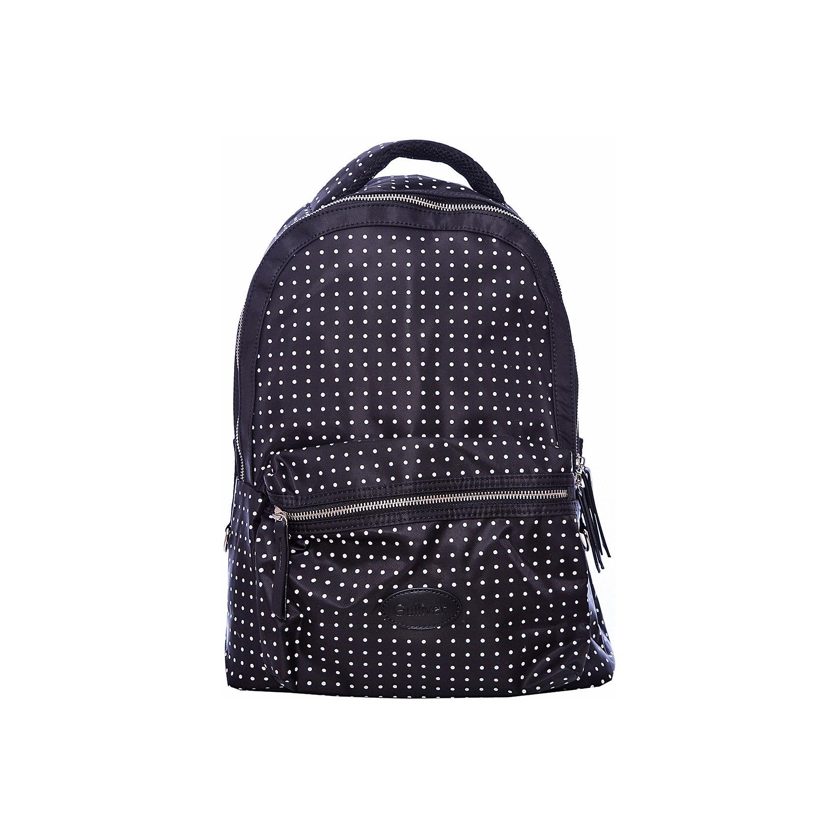 Рюкзак GulliverАксессуары<br>Характеристики товара:<br><br>• цвет: черный;<br>• материал: текстиль;<br>• застежка: молния;<br>• особенности: школьный, повседневный, в горох;<br>• эргономическая спинка;<br>• воздухопроницаемая ткань на спинке;<br>• внешний карман на молнии;<br>• страна бренда: Россия;<br>• страна производства: Китай.<br><br>Школьный рюкзак на молнии для девочки. Черный рюкзак в белый горошек с эргономической спинкой и внешним карманам на молнии. Молодежный рюкзак подходит как для школы, так и для повседневной носки.<br><br>Рюкзак Gulliver (Гулливер) можно купить в нашем интернет-магазине.<br><br>Ширина мм: 227<br>Глубина мм: 11<br>Высота мм: 226<br>Вес г: 350<br>Цвет: черный<br>Возраст от месяцев: 84<br>Возраст до месяцев: 192<br>Пол: Унисекс<br>Возраст: Детский<br>Размер: one size<br>SKU: 6679028