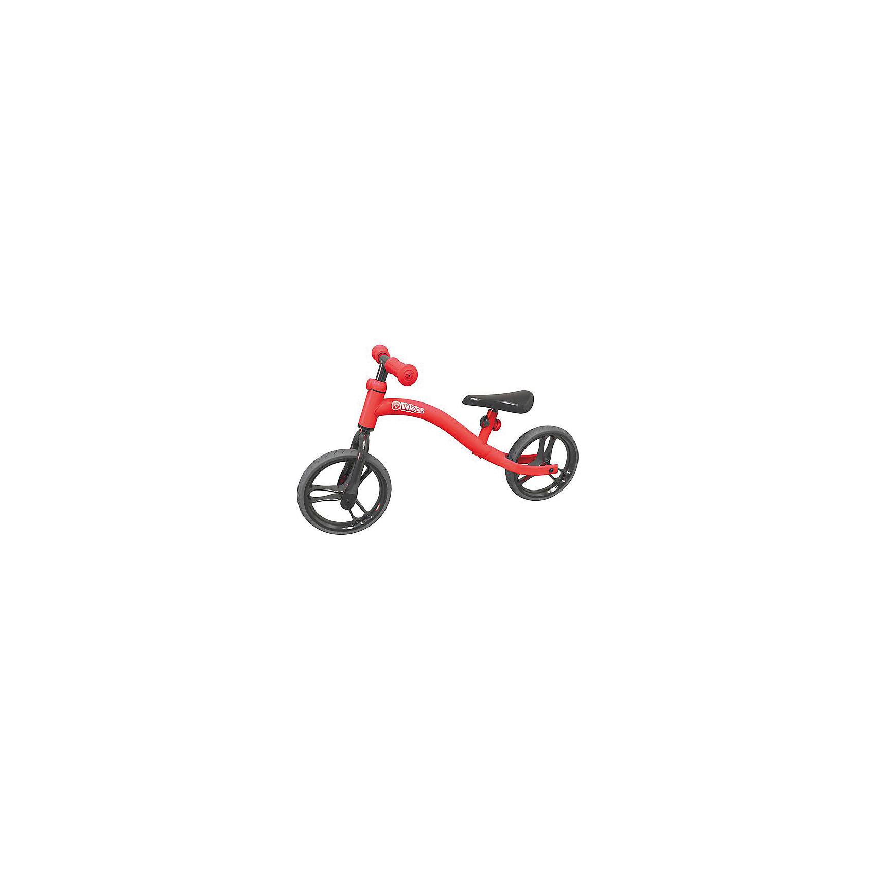Беговел Y-volution Velo Air, красныйБеговелы<br>Характеристики товара:<br><br>• возраст: от 3 лет;<br>• максимальная нагрузка: 20 кг;<br>• материал: металл, пластик;<br>• диаметр колес: 9 дюймов;<br>• регулируемые руль и сидение в 3 позициях;<br>• дпрорезиненные накладки на ручках;<br>• вес беговела: 2,3 кг;<br>• размер упаковки: 105х65,5х98,5 см;<br>• вес упаковки: 3,5 кг;<br>• страна производитель: Китай.<br><br>Беговел Velo Air Y-Evolution красный сделает активной и интересной прогулку на свежем воздухе, а также научит малыша координировать движения и держать равновесие. Рама беговела изготовлена из прочного металла. На ручках руля имеются прорезиненные накладки, чтобы во время движения ладошки не соскальзывали.<br><br>Сидение и руль регулируются по высоте, позволяя подобрать оптимальную высоту под растущего ребенка. Большие колеса во время езды поглощают удары.<br><br>Беговел Velo Air Y-Evolution красный можно приобрести в нашем интернет-магазине.<br><br>Ширина мм: 1050<br>Глубина мм: 655<br>Высота мм: 985<br>Вес г: 3500<br>Возраст от месяцев: 36<br>Возраст до месяцев: 2147483647<br>Пол: Унисекс<br>Возраст: Детский<br>SKU: 6679946