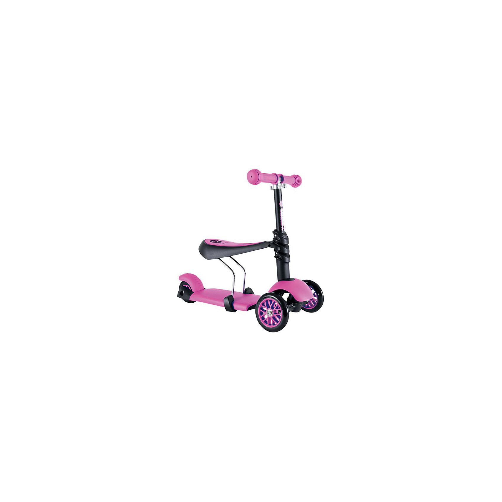 Трехколесный самокат Y-volution Glider 3 в 1, розовыйСамокаты<br>Характеристики товара:<br><br>• возраст: от 1,5 лет;<br>• максимальная нагрузка: 20 кг;<br>• материал: металл, пластик;<br>• регулируемый руль;<br>• диаметр передних колес: 120 мм;<br>• материал колес: полиуретан;<br>• подшипник АВЕС 3;<br>• ножной тормоз;<br>• вес самоката: 3,2 кг;<br>• размер упаковки: 60х41х65 см;<br>• вес упаковки: 3,2 кг;<br>• страна производитель: Китай.<br><br>Трехколесный самокат-трансформер Glider 3 в 1 Yvolution розовый разнообразит детскую прогулку на свежем воздухе, научит малыша координировать движения и держать равновесие. Самокат трансформируется в зависимости от возраста ребенка и может использоваться в 3 вариантах. <br><br>Для детей, которые только начинают кататься на самокате, на него устанавливается удобное сидение. Сидя на нем, малыш отталкивается ножками от земли и учится основным движениям. Для ребенка постарше сидение убирается, рулевая стойка поднимается, и самокат используется в классическом варианте. <br><br>Руль можно отрегулировать в зависимости от роста ребенка, адаптировав его под растущего малыша. Ручки руля покрыты нескользящими прорезиненными накладками. Дека с противоскользящей поверхностью гарантирует безопасное катание и препятствует соскальзывание во время езды. 2 передних колеса придают хорошей устойчивости. Ножной тормоз обеспечивает быстрое торможение перед препятствием.<br><br>Трехколесный самокат Glider 3 в 1 Yvolution розовый можно приобрести в нашем интернет-магазине.<br><br>Ширина мм: 600<br>Глубина мм: 410<br>Высота мм: 650<br>Вес г: 3200<br>Возраст от месяцев: 24<br>Возраст до месяцев: 2147483647<br>Пол: Женский<br>Возраст: Детский<br>SKU: 6679947