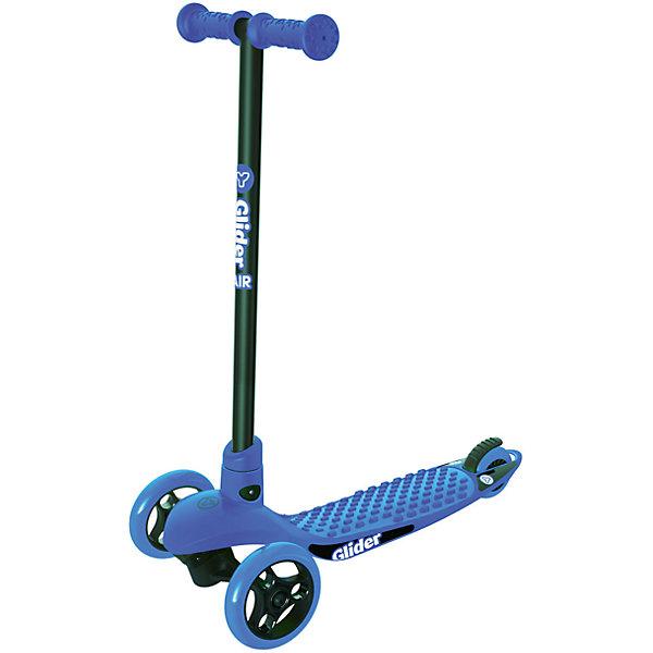 Трехколесный самокат Y-volution Glider Air, синийСамокаты<br>Характеристики товара:<br><br>• возраст: от 3 лет;<br>• максимальная нагрузка: 20 кг;<br>• материал: сталь, пластик;<br>• диаметр передних колес: 125 мм, заднего колеса: 80 мм;<br>• материал колес: полиуретан;<br>• высота рулевой стойки: 59,5 см;<br>• ножной тормоз;<br>• вес самоката: 2 кг;<br>• размер упаковки: 105х65,5х98,5 см;<br>• вес упаковки: 2 кг;<br>• страна производитель: Китай.<br><br>Трехколесный самокат Glider Air Yvolution синий разнообразит летнюю прогулку на свежем воздухе. Катание на самокате учит ребенка координировать движения, держать равновесие. Колеса из полиуретана отличаются прочностью и износостойкостью, а также обеспечивают плавную езду. 2 передних колеса придают самокату хорошей устойчивости. <br><br>Ручки руля покрыты прорезиненными грипсами, предотвращающими соскальзывание ладоней во время катания. Дека из прочного пластика имеет рифленую поверхность для безопасной езды и хорошей устойчивости на ее поверхности. Ножной тормоз гарантирует быстрое торможение перед препятствием. Рулевую стойку можно вытащить для компактного хранения дома.<br><br>Трехколесный самокат Glider Air Yvolution синий можно приобрести в нашем интернет-магазине.<br><br>Ширина мм: 1050<br>Глубина мм: 655<br>Высота мм: 985<br>Вес г: 2000<br>Возраст от месяцев: 36<br>Возраст до месяцев: 2147483647<br>Пол: Унисекс<br>Возраст: Детский<br>SKU: 6679949