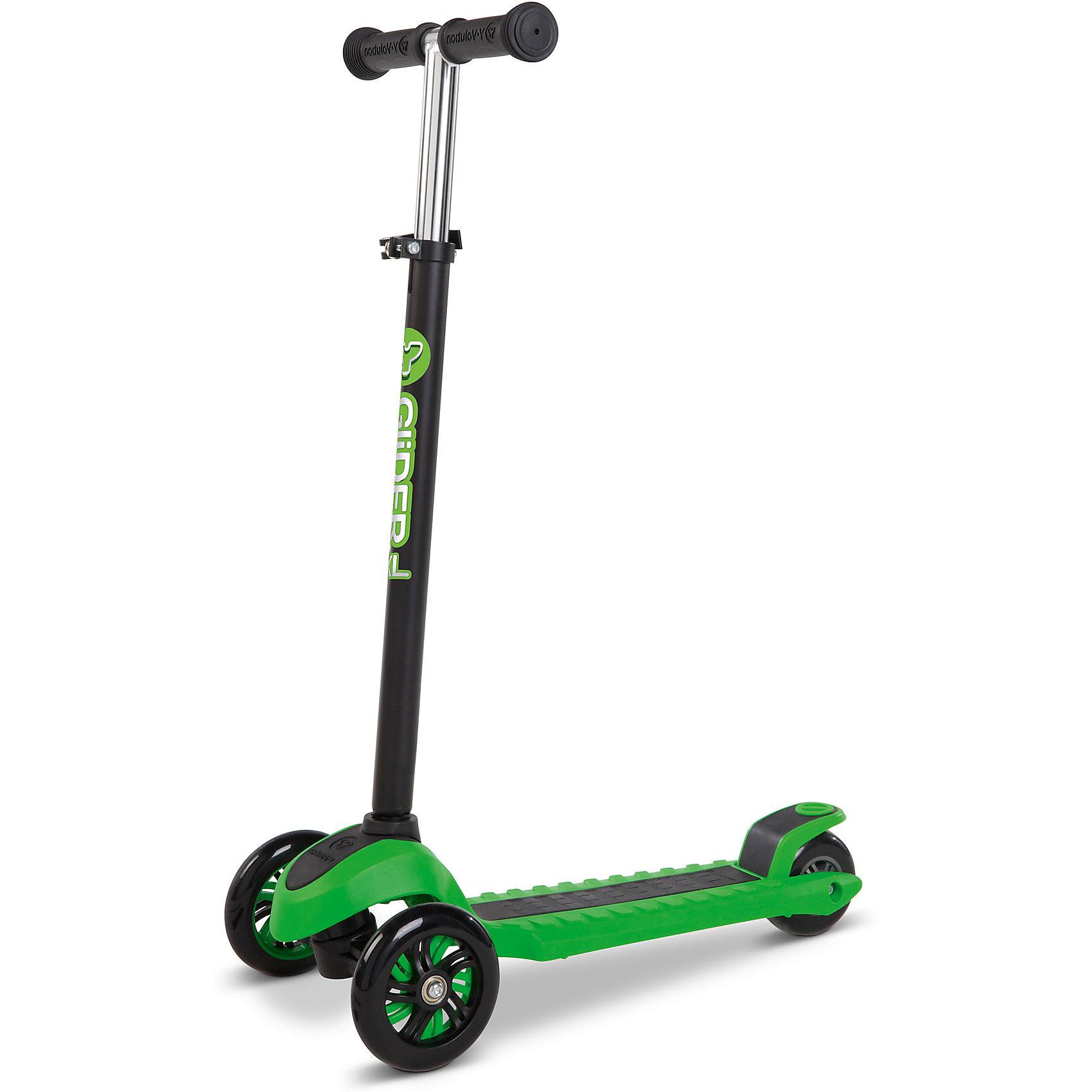 Трехколесный самокат Y-volution Glider XL, зеленыйСамокаты<br>Характеристики товара:<br><br>• возраст: от 5 лет;<br>• максимальная нагрузка: 50 кг;<br>• материал: металл, пластик;<br>• материал колес: полиуретан;<br>• регулируемая высота руля;<br>• ножной тормоз;<br>• вес самоката: 2,6 кг;<br>• размер упаковки: 60х41х65 см;<br>• вес упаковки: 2,6 кг;<br>• страна производитель: Китай.<br><br>Трехколесный самокат Glider XL Yvolution зеленый научит ребенка координировать движения и держать равновесие. Самокат оснащен удобным и простым в управлении рулевым механизмом, понятным даже начинающим райдерам. Для поворота рулевая стойка наклоняется в нужную сторону, что позволяет легко держать равновесие даже при повороте.<br><br>Колеса изготовлены из долговечного износостойкого полиуретана, который обеспечивает плавную и ровную езду. 2 передних колеса придают самокату хорошей устойчивости. Дека имеет рифленую поверхность для безопасной езды и хорошей устойчивости на ее поверхности. Ножной тормоз гарантирует быстрое торможение перед препятствием.<br><br>Руль регулируется по высоте, что позволит адаптировать его под растущего ребенка. Ручки руля покрыты прорезиненными накладками, предотвращающими соскальзывание ладоней во время катания. Рулевую стойку можно убрать для более удобного хранения дома или перевозки.<br><br>Трехколесный самокат Glider XL Yvolution зеленый можно приобрести в нашем интернет-магазине.<br><br>Ширина мм: 600<br>Глубина мм: 410<br>Высота мм: 650<br>Вес г: 2600<br>Возраст от месяцев: 60<br>Возраст до месяцев: 2147483647<br>Пол: Унисекс<br>Возраст: Детский<br>SKU: 6679953